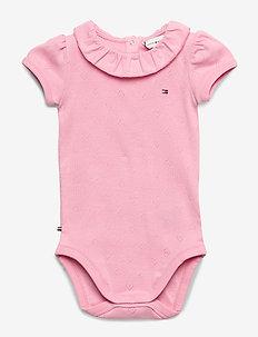 BABY GIRL RUFFLE COLLAR BODY S/S - SEA PINK