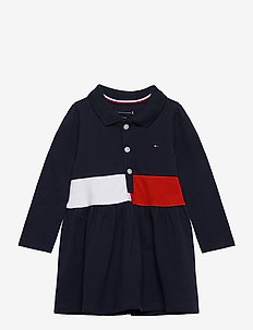 BABY BLOCK POLO DRESS L/S - robes - twilight navy
