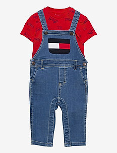 BABY TOMMY DUNGAREE SET - jeu de 2 pièces - denim medium