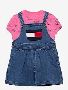 BABY DUNGAREE DRESS SET - dresses - denim medium