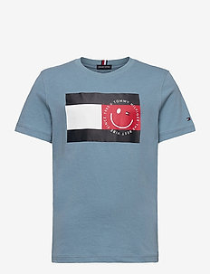 U FLAG SMILE TEE S/S - short-sleeved - vintage denim