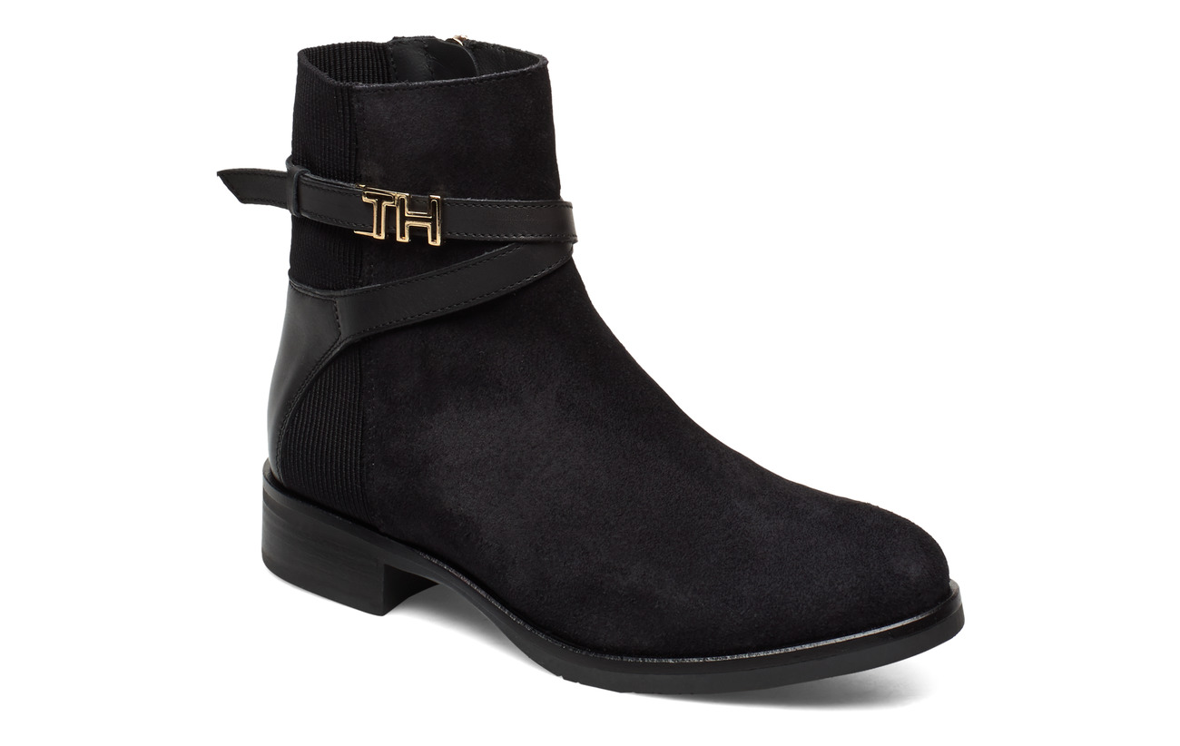 Tommy Hilfiger TH HARDWARE SUEDE FLAT BOOTIE - BLACK
