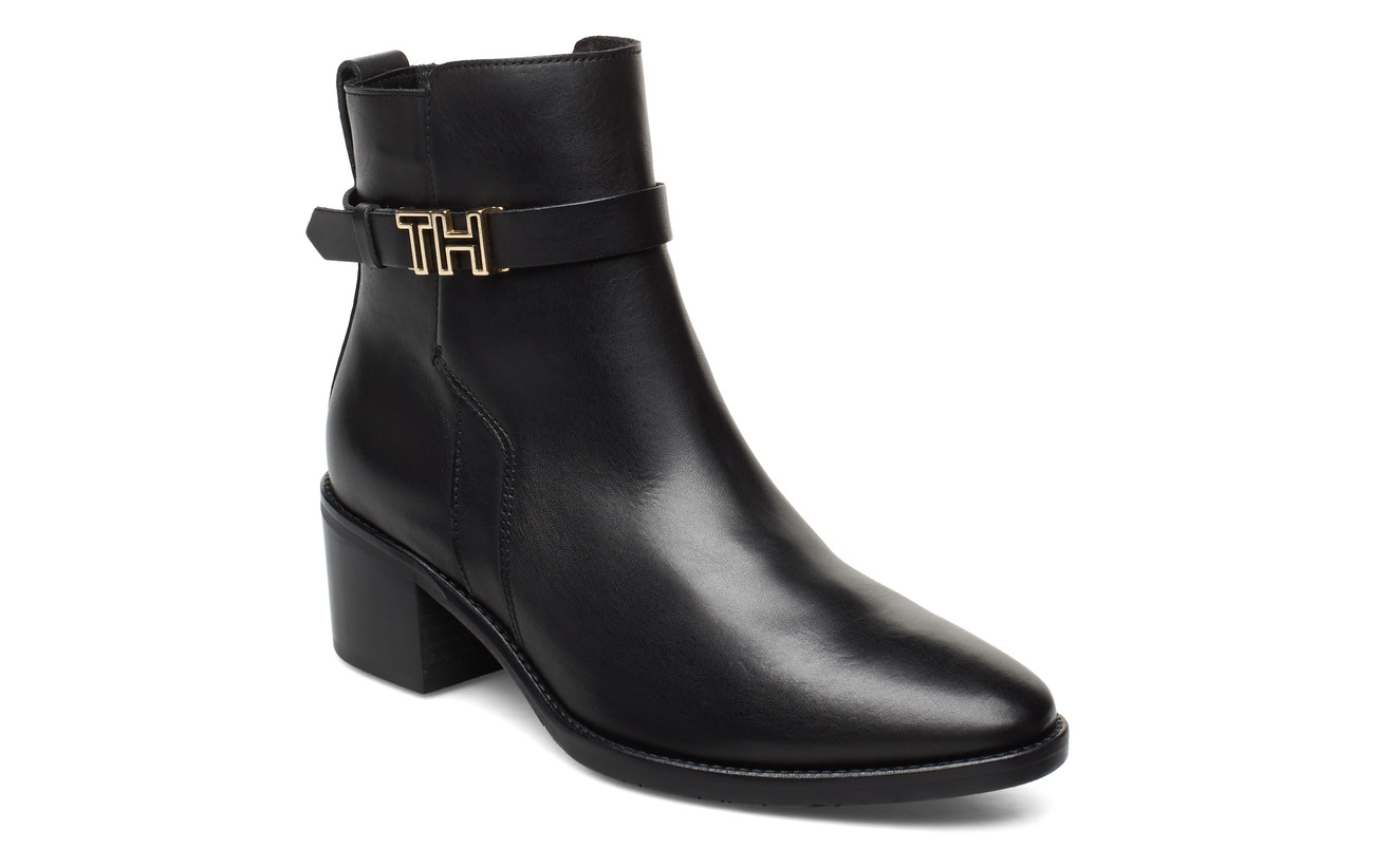 Tommy Hilfiger TH HARDWARE LEATHER MID BOOT - BLACK