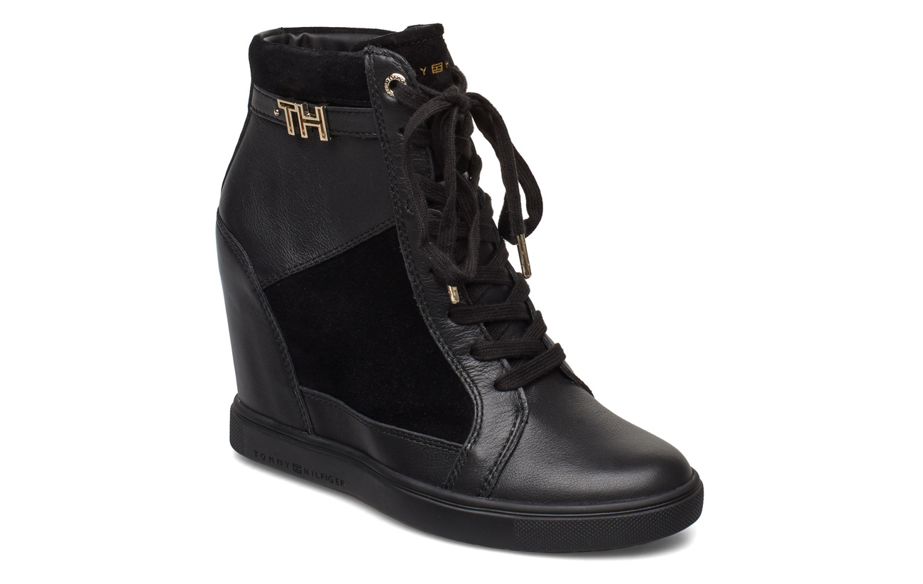 Tommy Hilfiger TH HARDWARE SNEAKER WEDGE - BLACK