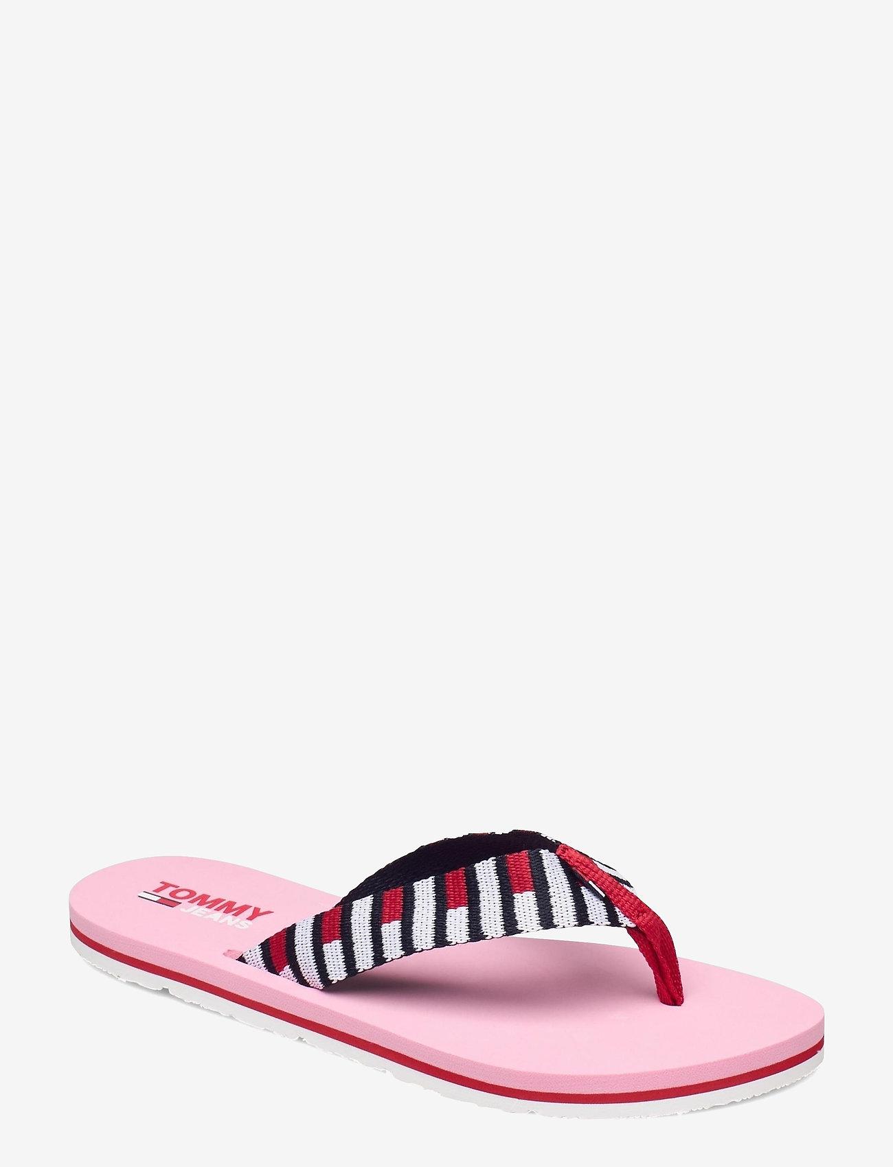 Tommy Hilfiger - FLAG WEBBING BEACH SANDAL - flat sandals - bubble pink - 0