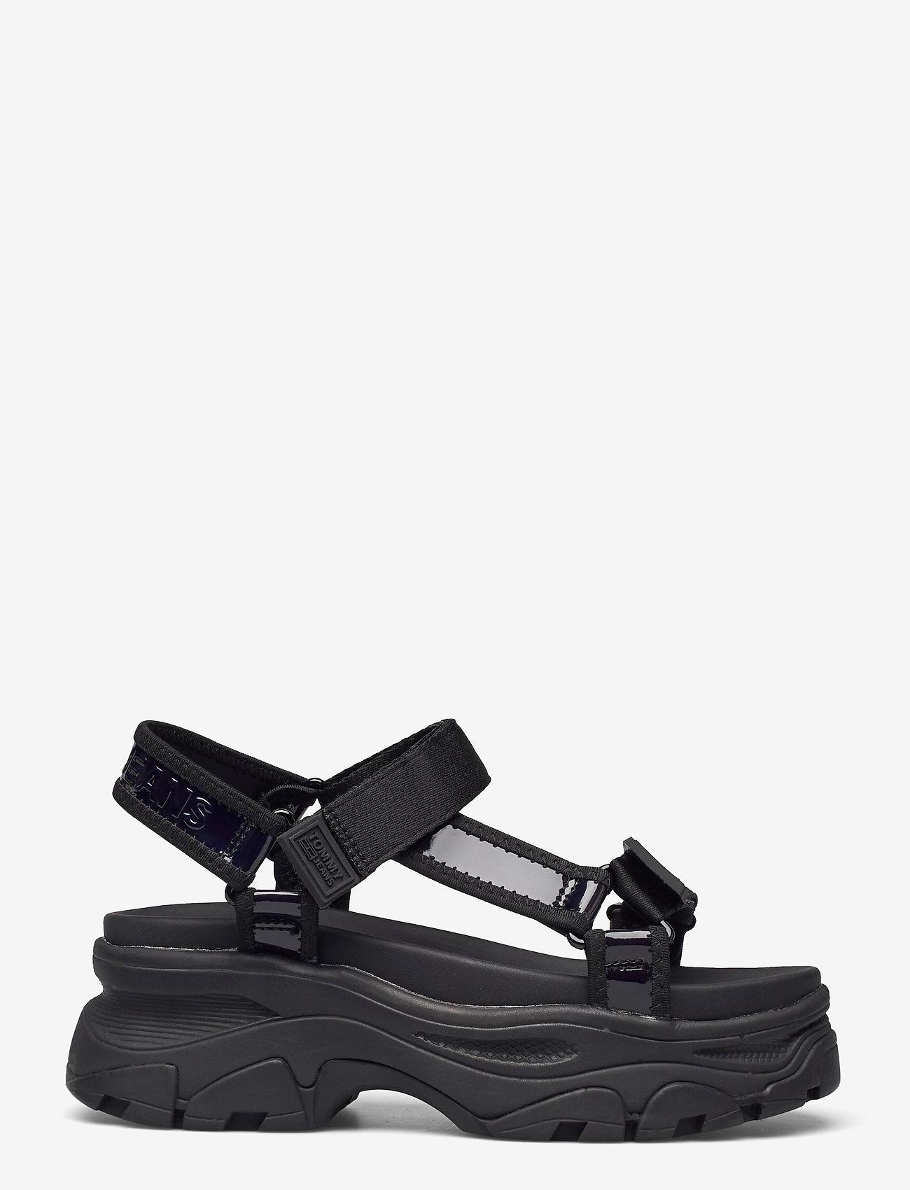 Tommy Hilfiger - IRIDESCENT HYBRID SANDAL - flat sandals - black - 1