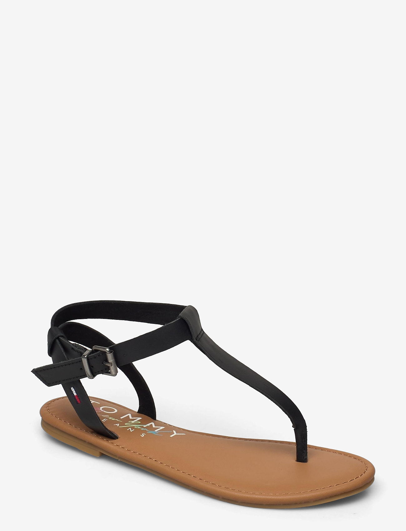 Tommy Hilfiger - ESSENTIAL TOE POST FLAT SANDAL - flat sandals - black - 0
