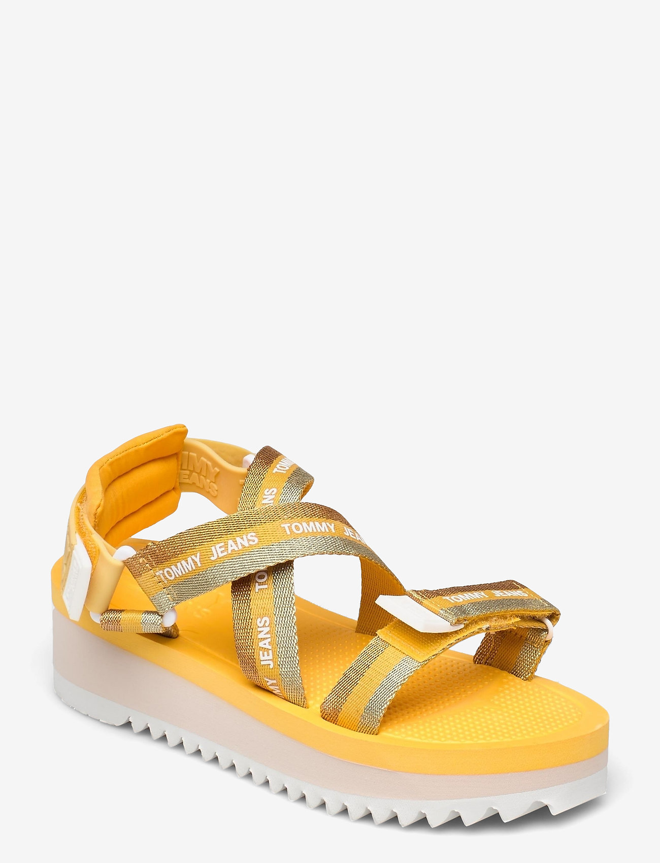 Tommy Hilfiger - LUREX WEBBING STRAPPY SANDAL - flat sandals - florida orange - 0