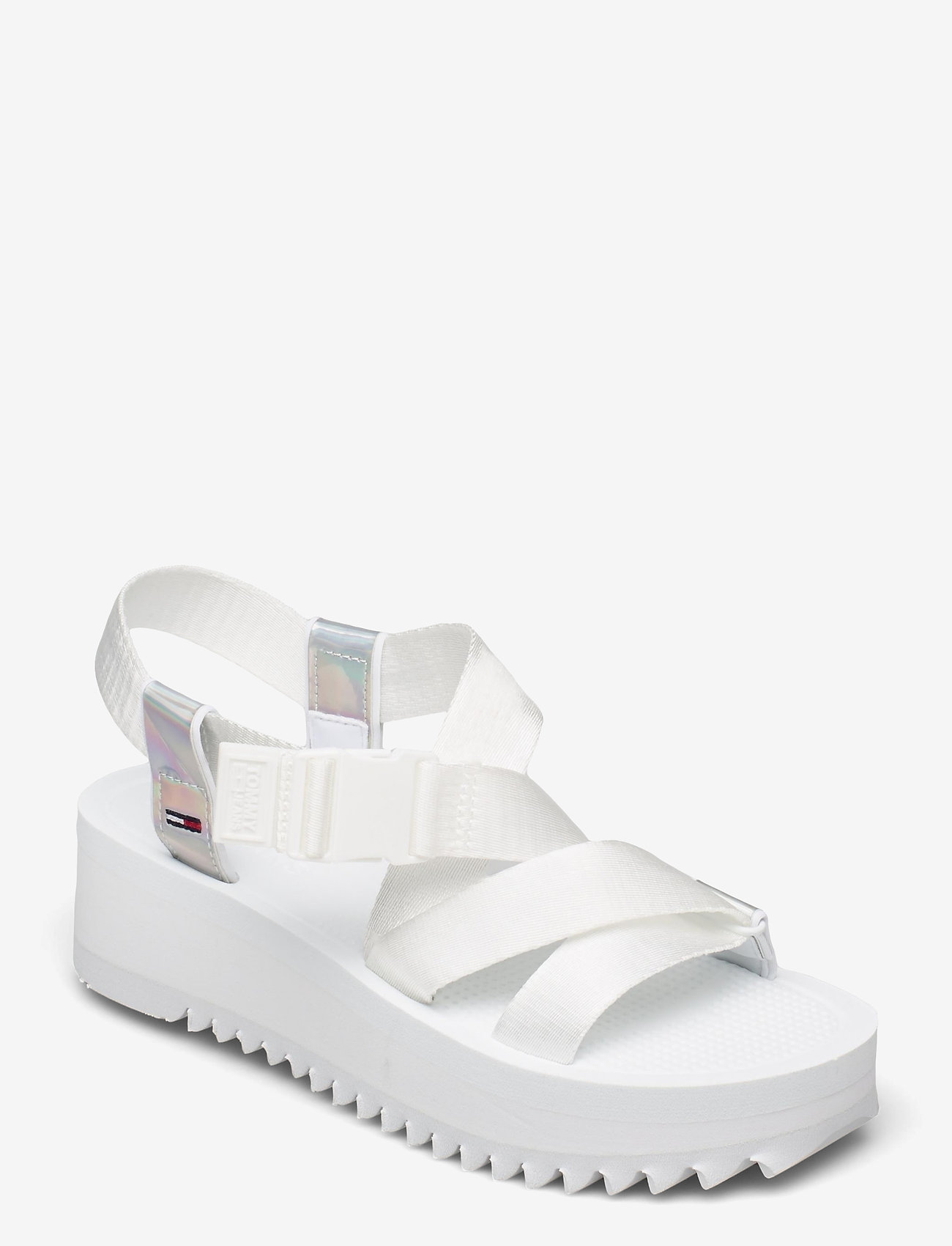 Tommy Hilfiger - IRIDESCENT STRAPPY SANDAL - flat sandals - white - 0