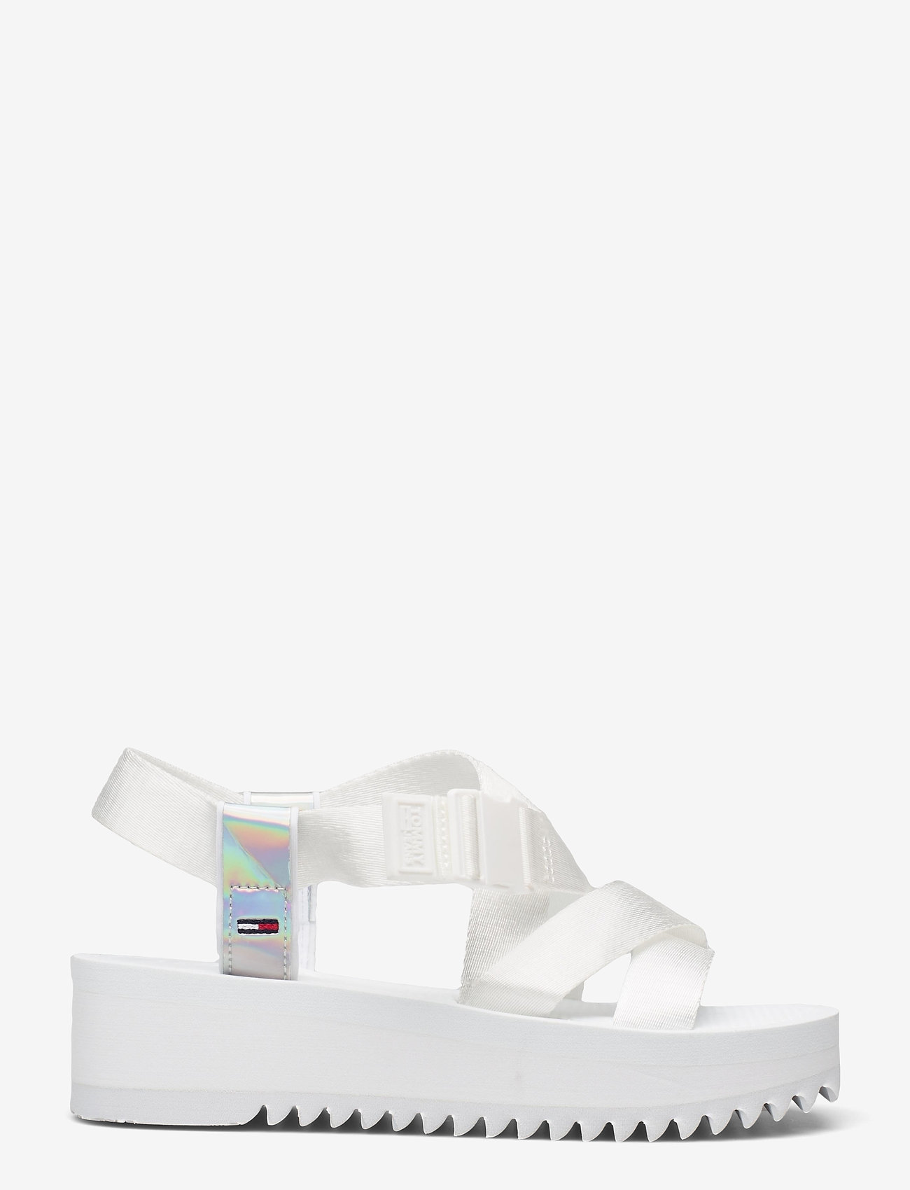 Tommy Hilfiger - IRIDESCENT STRAPPY SANDAL - flat sandals - white - 1