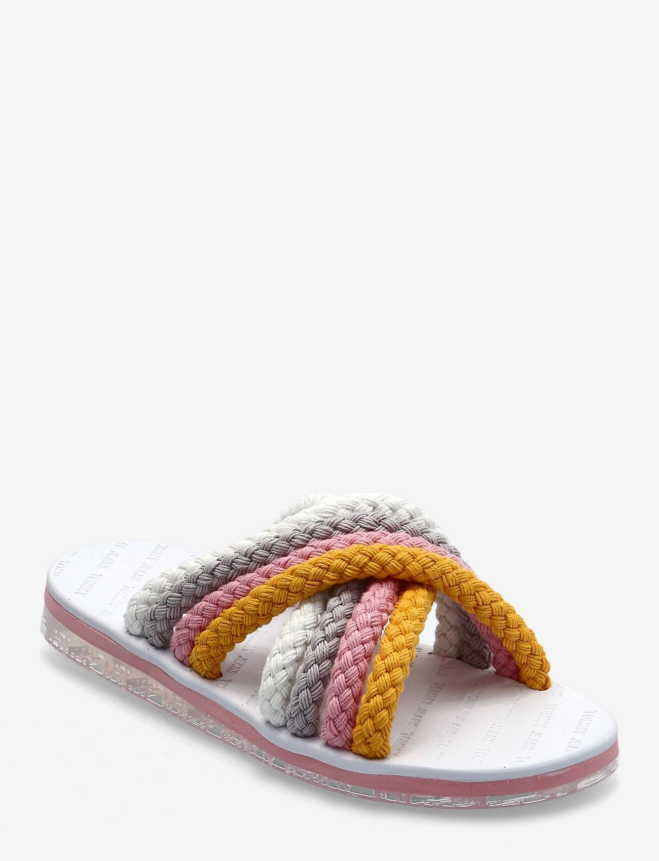 Tommy Hilfiger - CROSS STRAP MULE SANDAL - flat sandals - white - 0