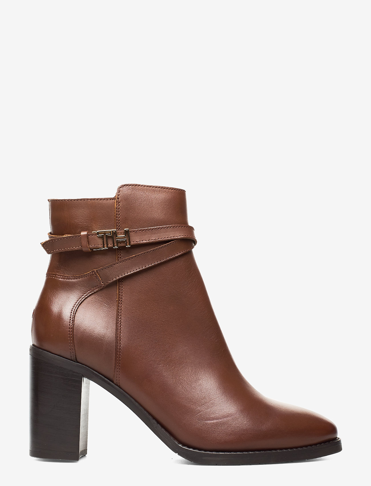 Tommy Hilfiger - TH HARDWARE LEATHER HIGH BOOT - ankelstøvletter med hæl - coffee - 1