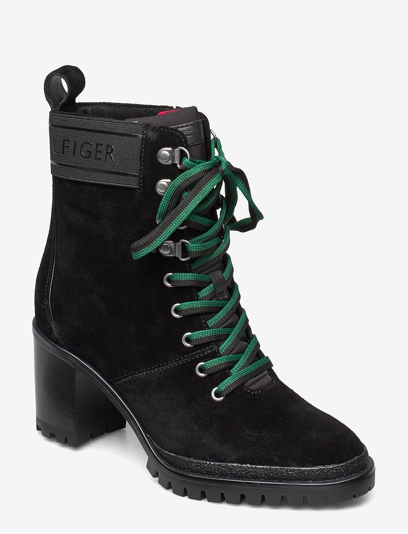 Tommy Hilfiger - SPORTY OUTDOOR MID HEEL LACE UP - ankelstøvletter med hæl - black - 0