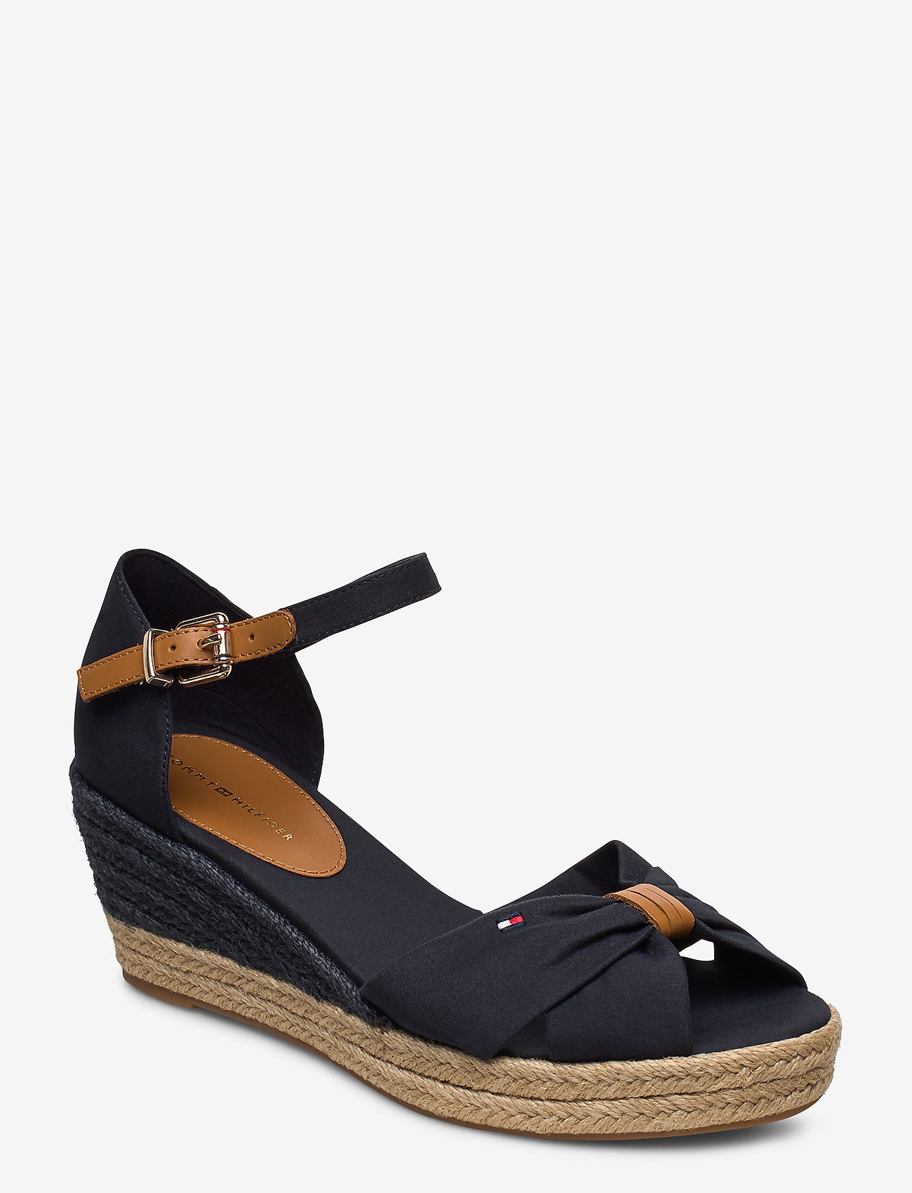 Tommy Hilfiger - BASIC OPEN TOE MID WEDGE - heeled espadrilles - desert sky - 0