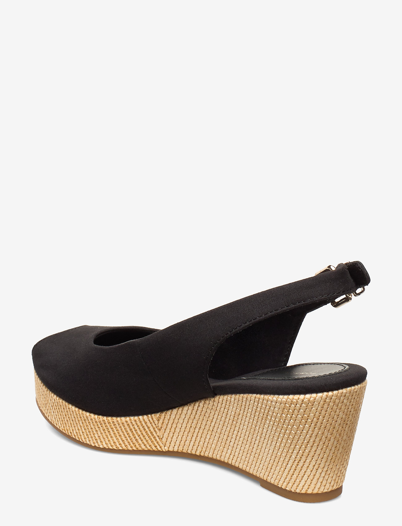 Iconic Elba Sling Back Wedge (Black) - Tommy Hilfiger