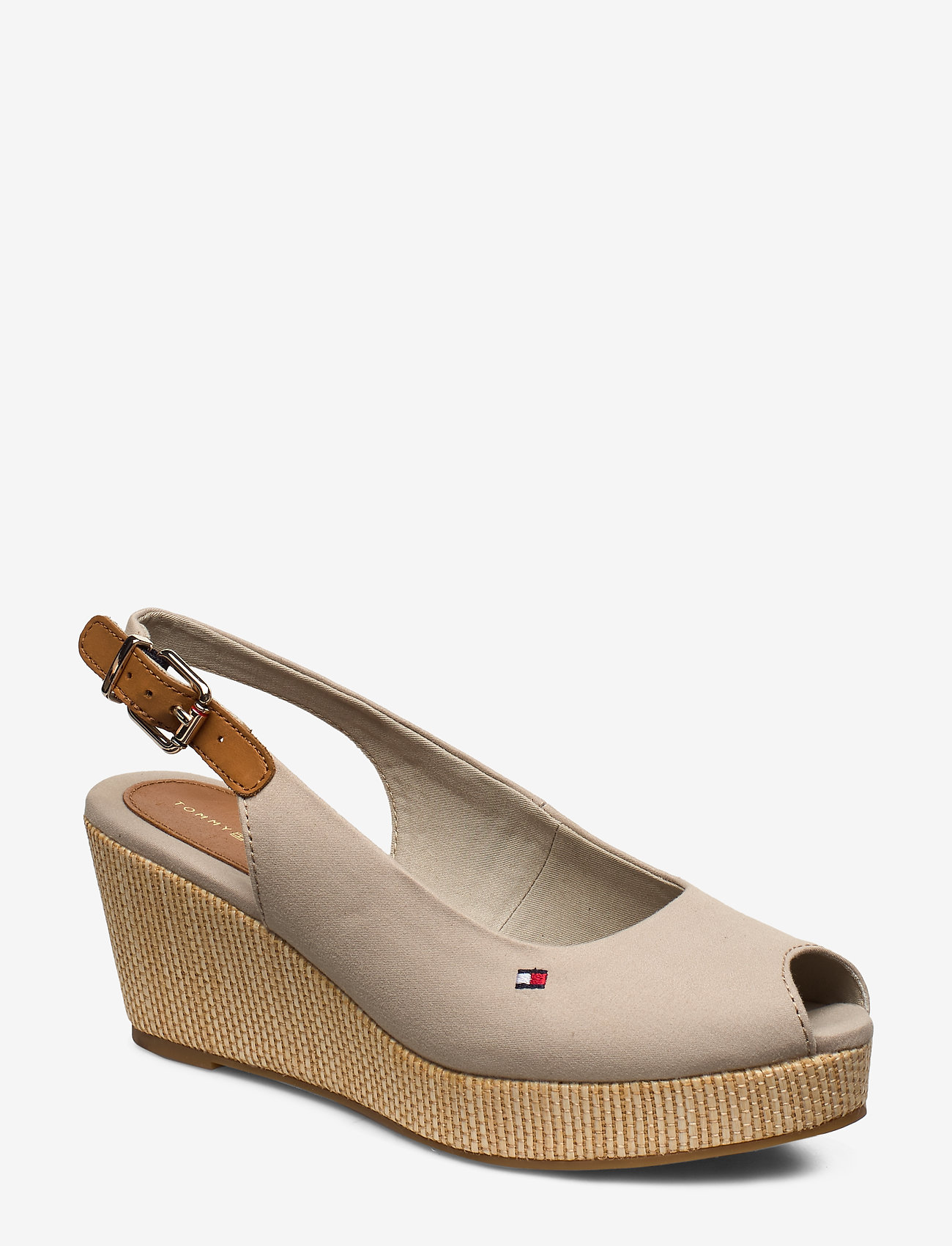 Tommy Hilfiger - ICONIC ELBA SLING BACK WEDGE - wedges - stone - 0