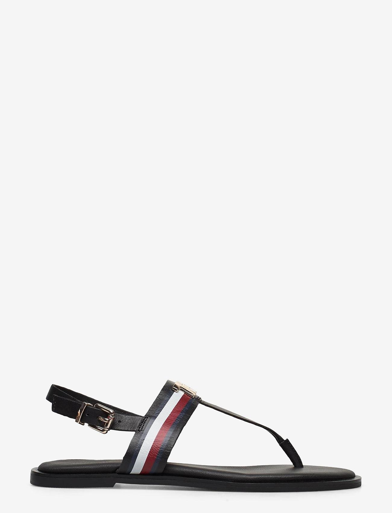 Tommy Hilfiger - CORPORATE LEATHER FLAT SANDAL - flade sandaler - black - 1