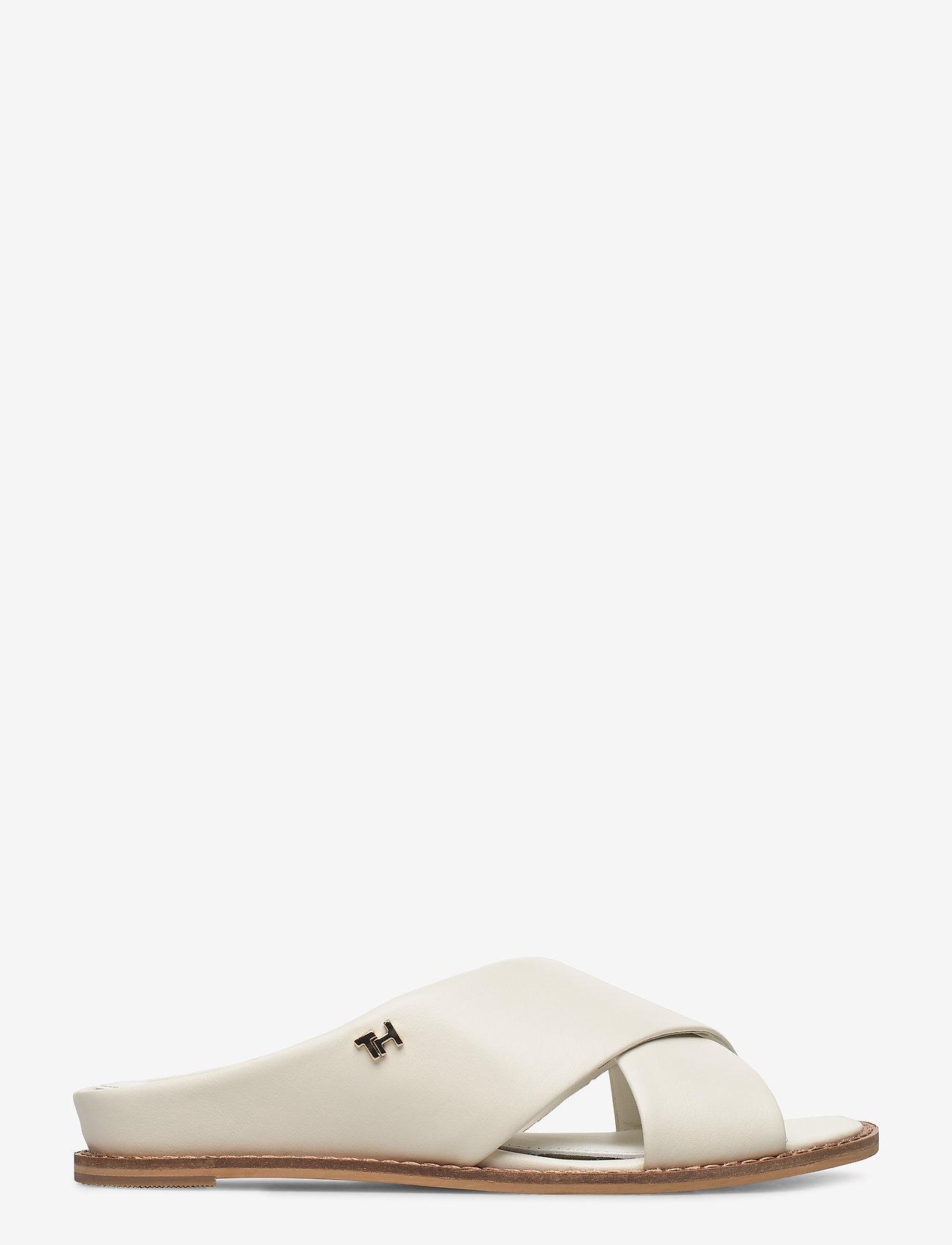 Tommy Hilfiger - FEMININE LEATHER LOW WEDGE - flade sandaler - white - 1