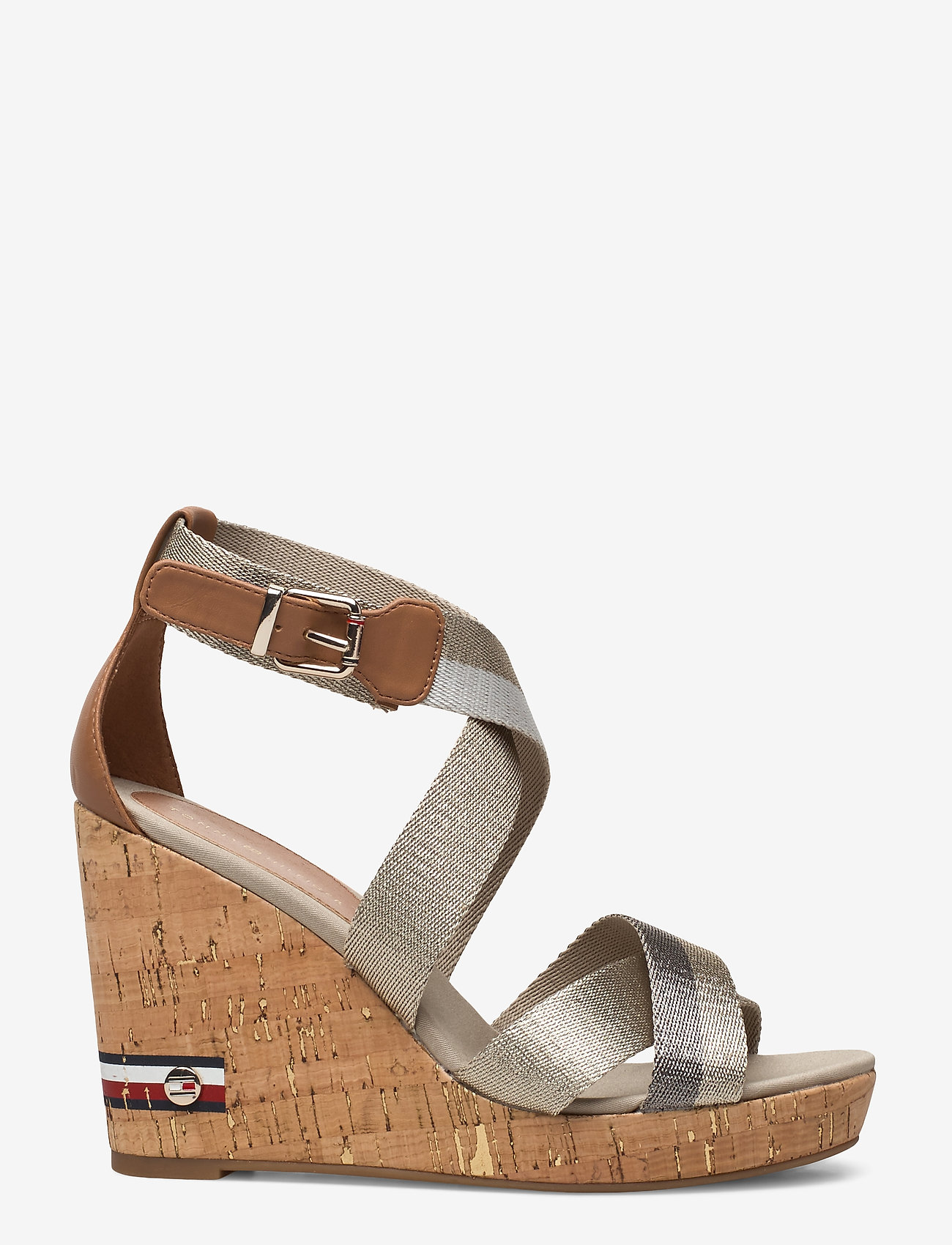 Tommy Hilfiger - CORPORATE TH HIGH WEDGE SANDAL - heeled sandals - stone - 1