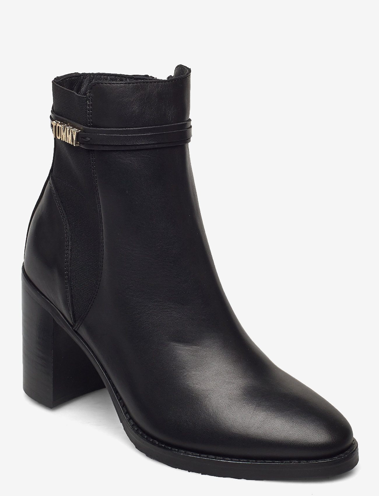 Tommy Hilfiger - BLOCK BRANDING HIGH HEEL BOOT - heeled ankle boots - black - 0