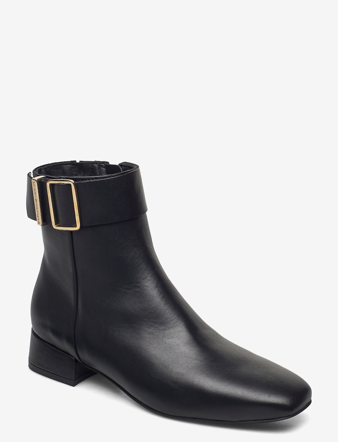 Tommy Hilfiger - LEATHER SQUARE TOE MID HEEL BOOT - flat ankle boots - black - 0