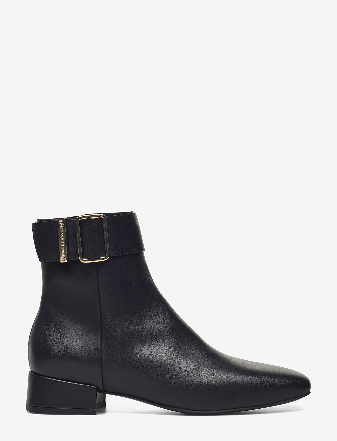 Tommy Hilfiger - LEATHER SQUARE TOE MID HEEL BOOT - flat ankle boots - black - 1