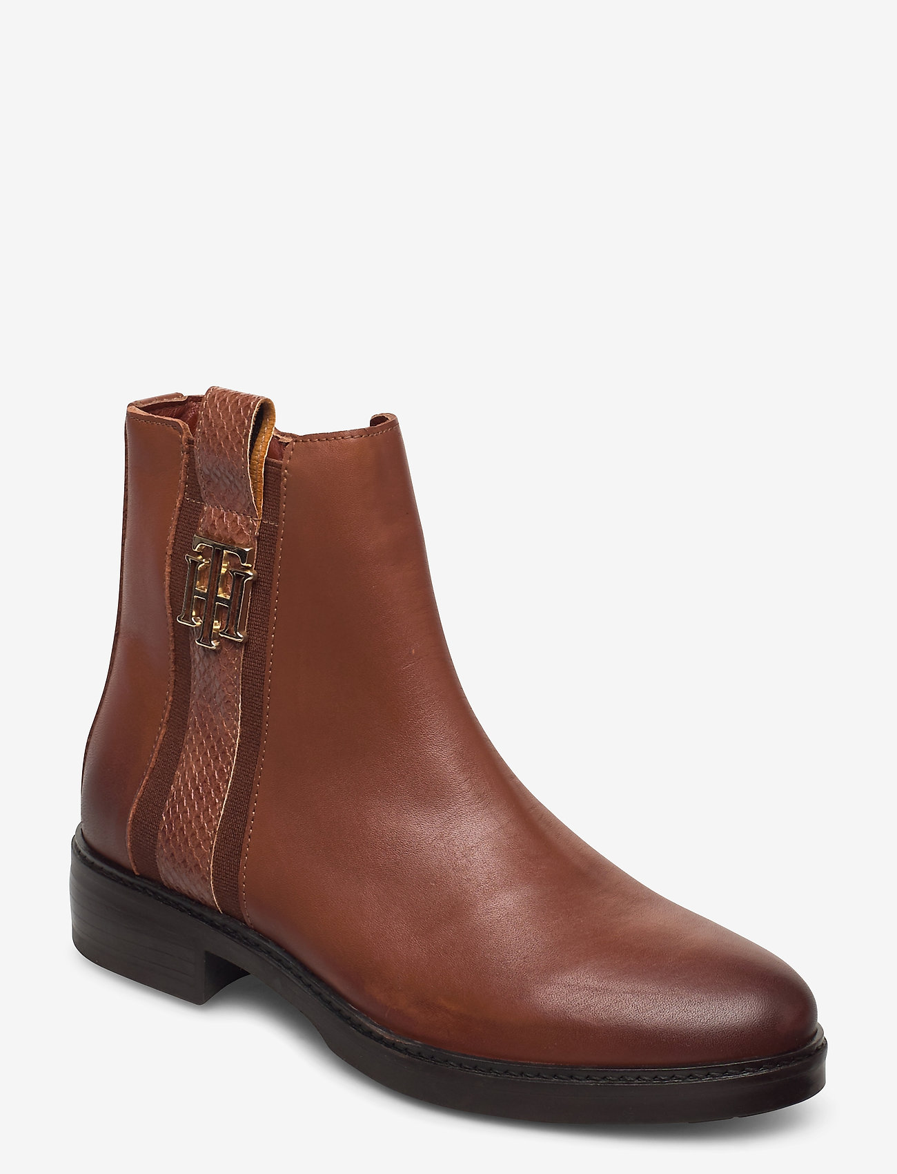 Tommy Hilfiger - TH INTERLOCK LEATHER FLAT BOOT - flat ankle boots - pumpkin paradise - 0
