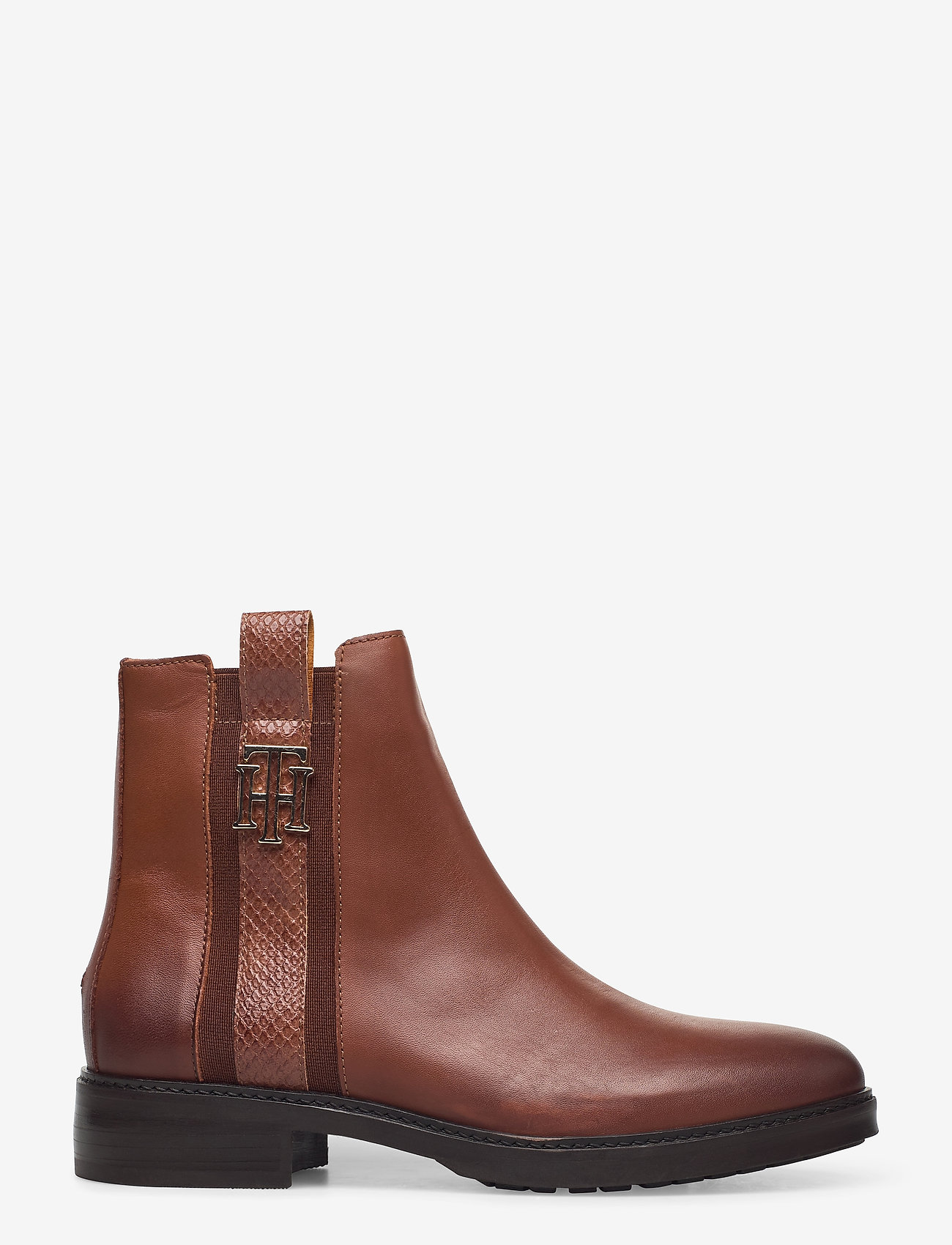 Tommy Hilfiger - TH INTERLOCK LEATHER FLAT BOOT - flat ankle boots - pumpkin paradise - 1