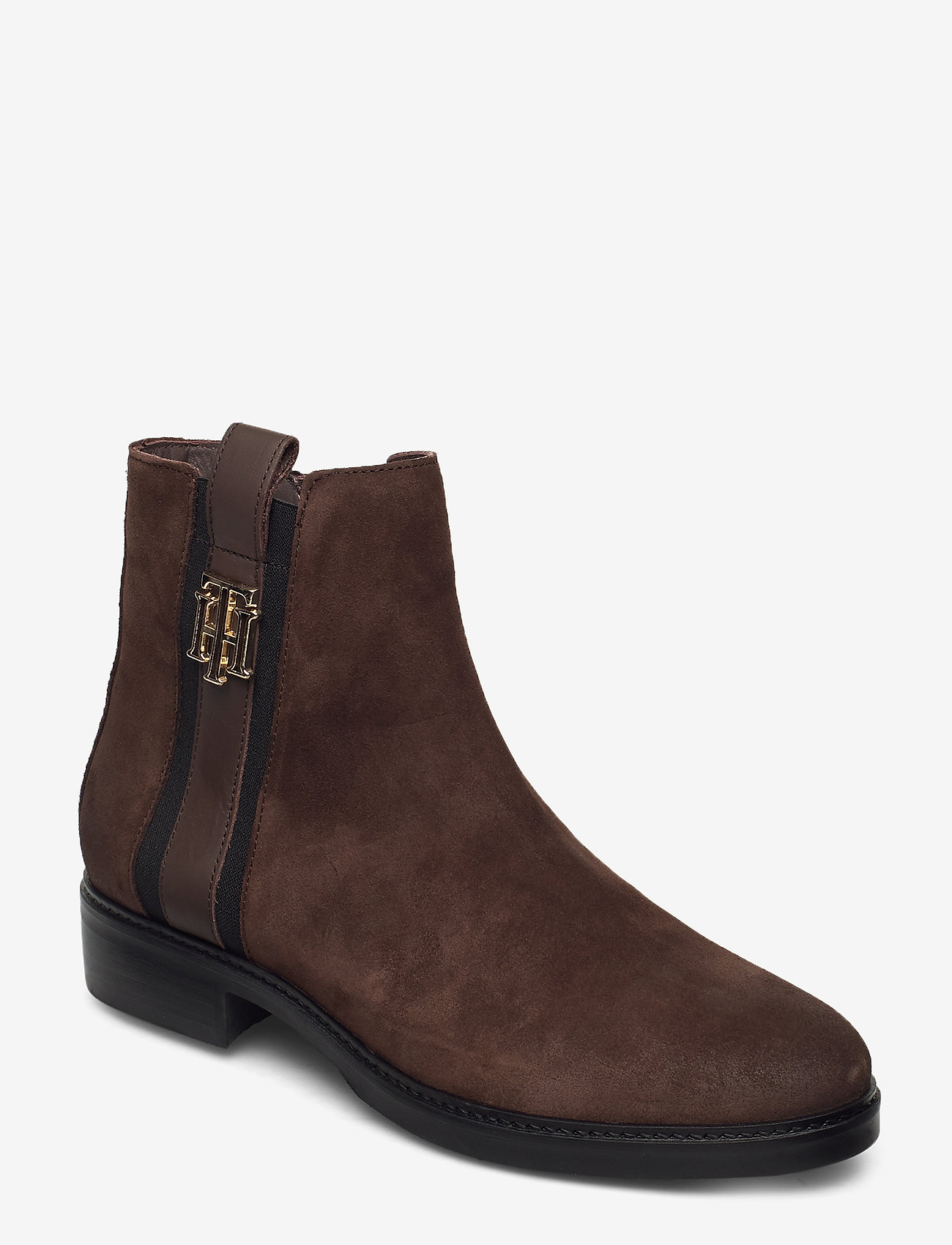 Tommy Hilfiger - TH INTERLOCK SUEDE FLAT BOOT - cocoa - 0