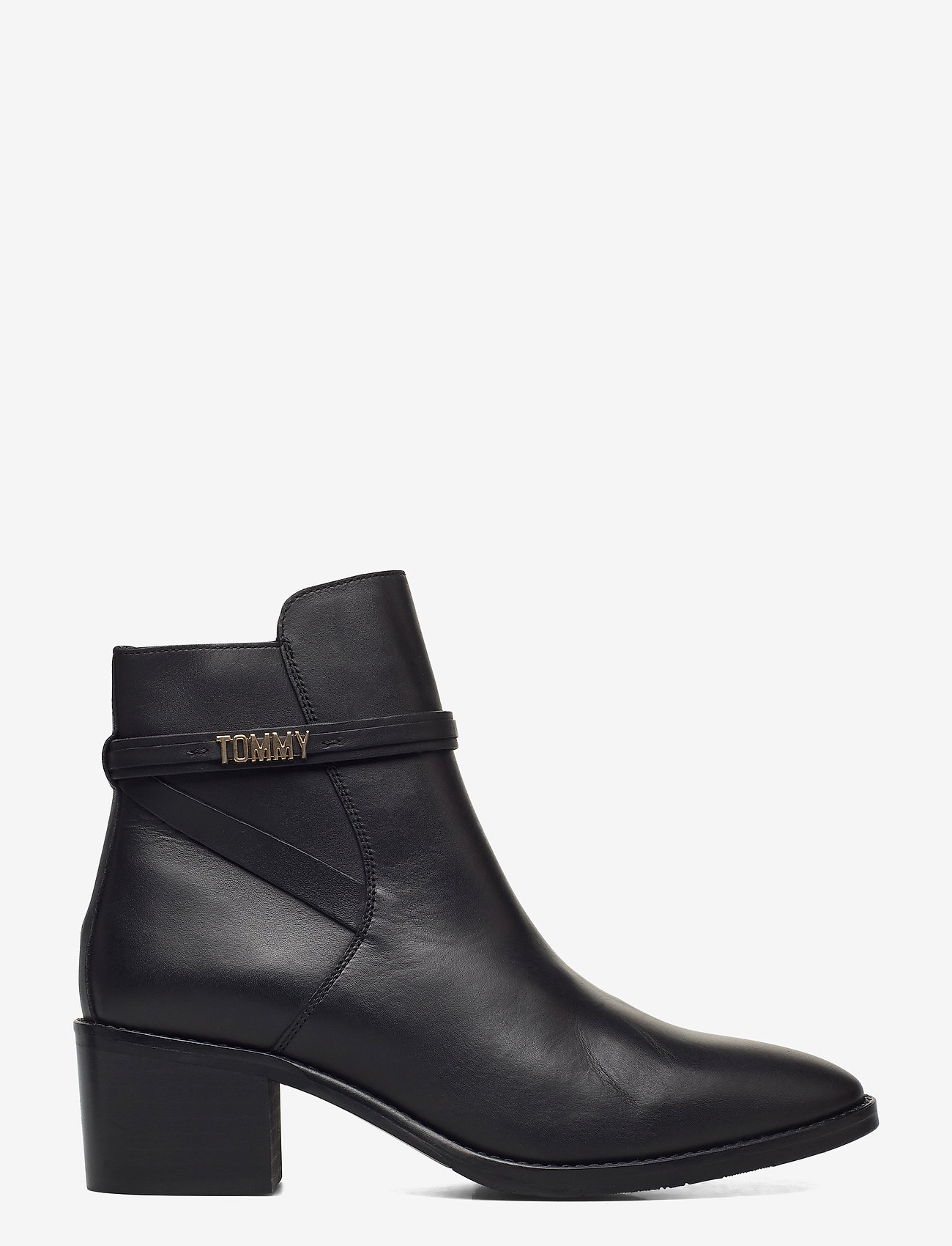 Tommy Hilfiger - BLOCK BRANDING LEATHER MID BOOT - heeled ankle boots - black - 1