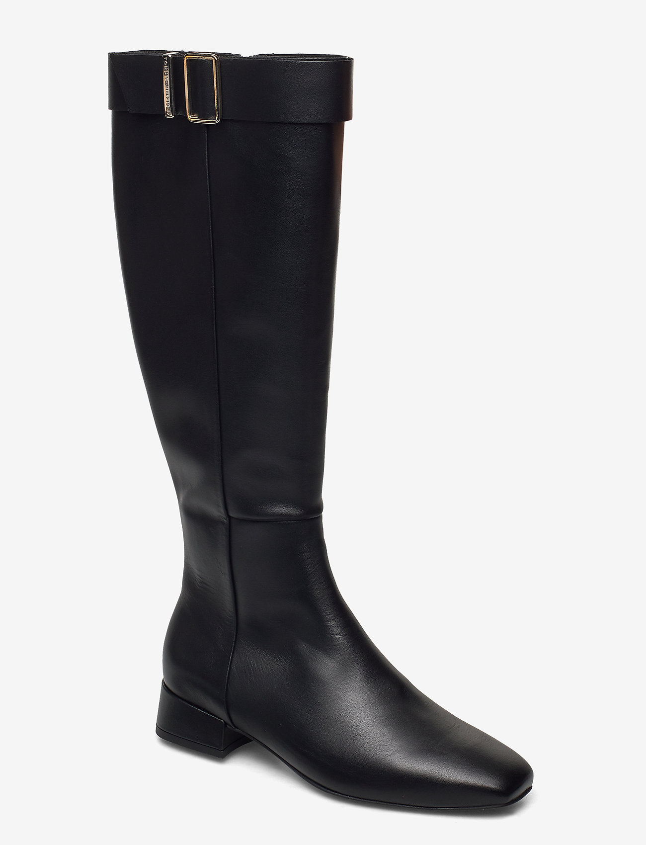 Tommy Hilfiger - LEATHER SQUARE TOE LONG BOOT - long boots - black - 0