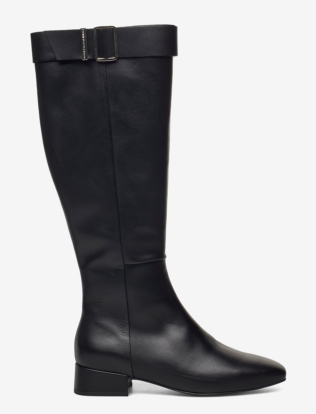 Tommy Hilfiger - LEATHER SQUARE TOE LONG BOOT - long boots - black - 1