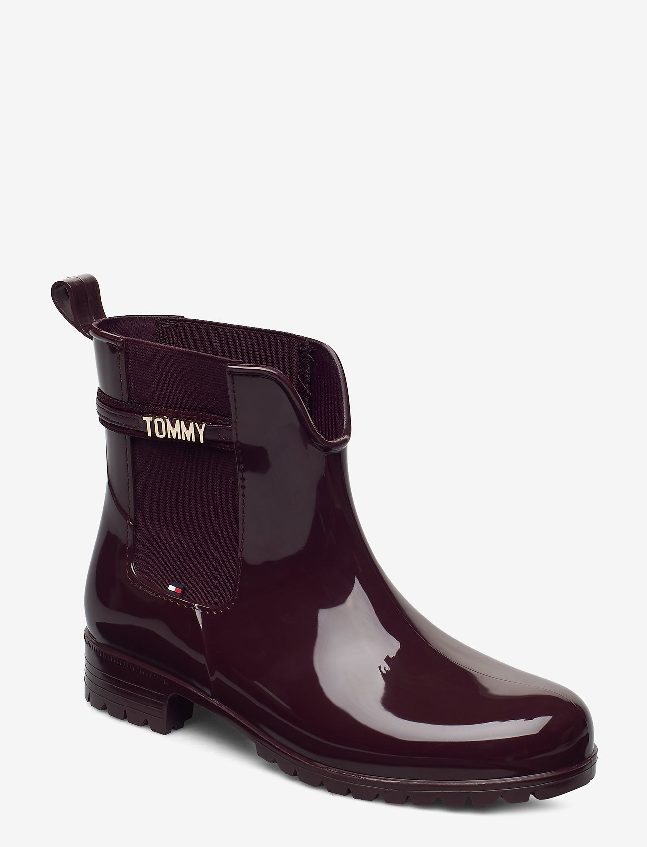 Tommy Hilfiger - BLOCK BRANDING RAINBOOT - chelsea boots - deep burgundy - 0