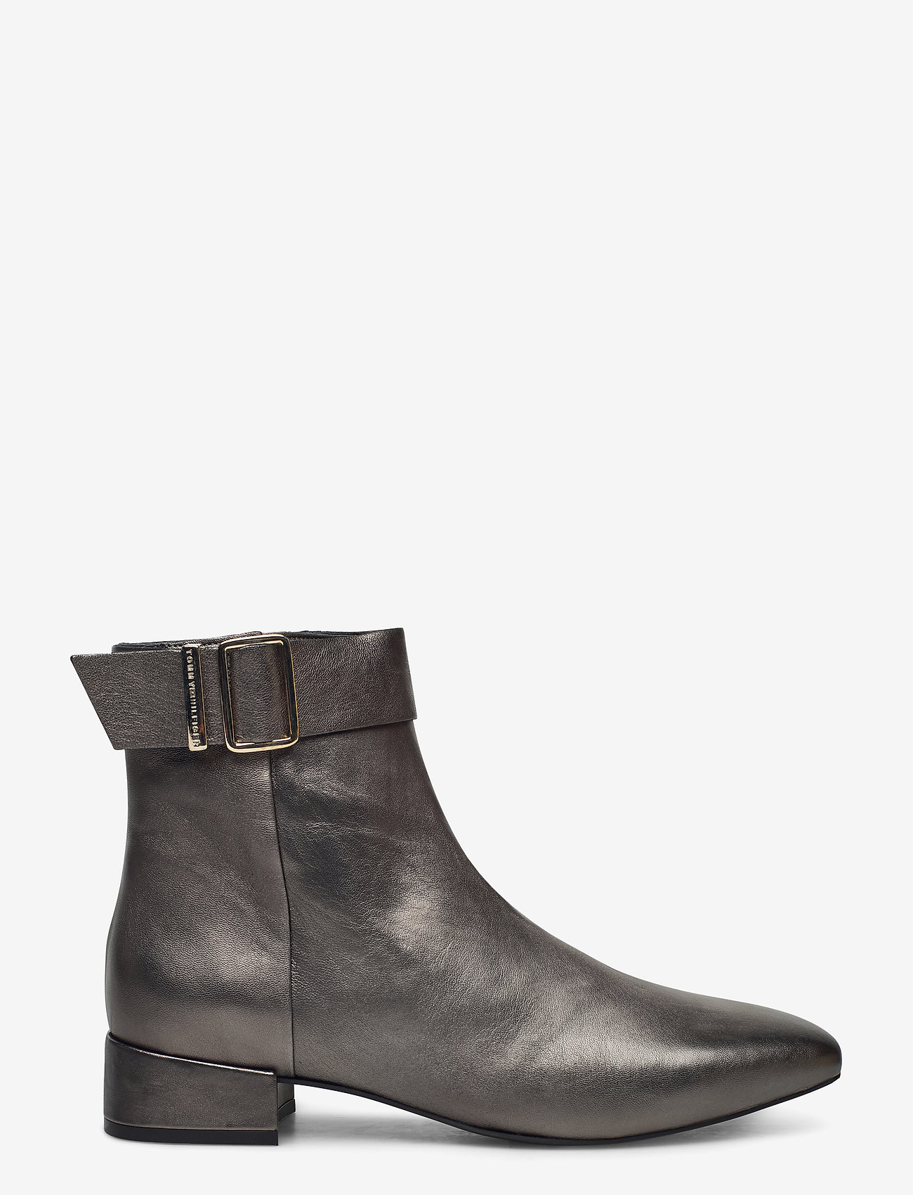 Tommy Hilfiger - METALLIC SQUARE TOE MID BOOT - heeled ankle boots - dark silver - 1
