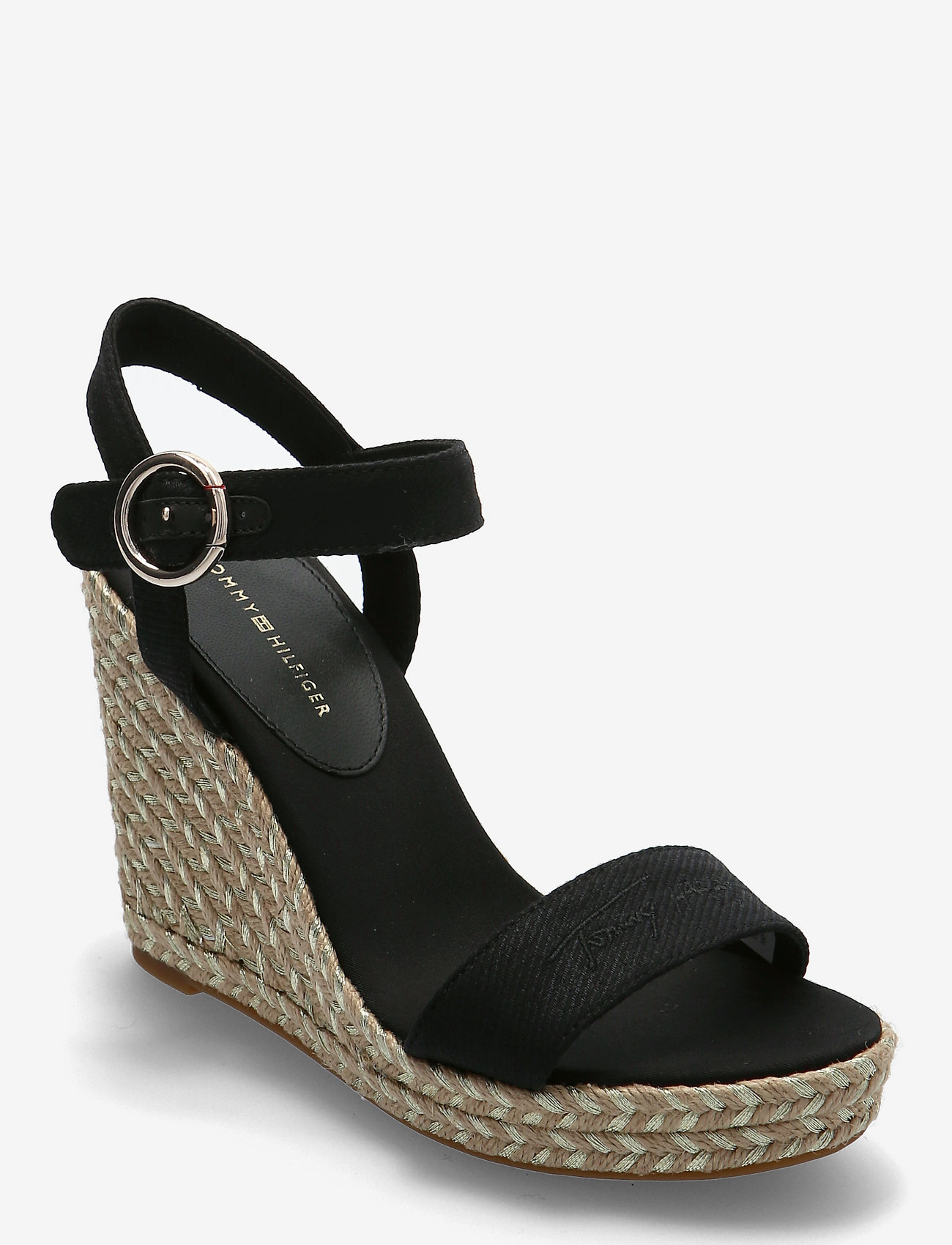 Tommy Hilfiger - TH SIGNATURE HIGH WEDGE SANDAL - heeled espadrilles - black - 0