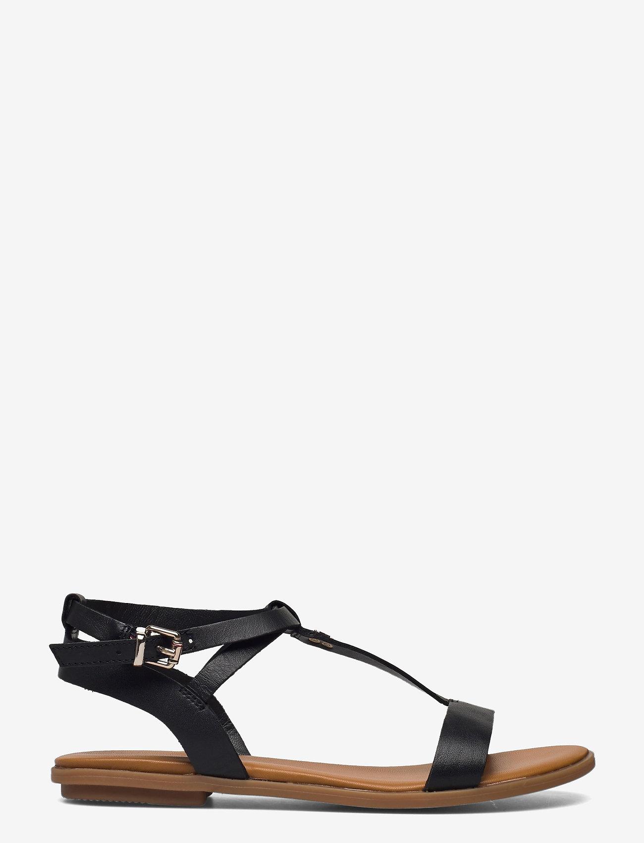 Tommy Hilfiger - FEMININE LEATHER FLAT SANDAL - flat sandals - black - 1