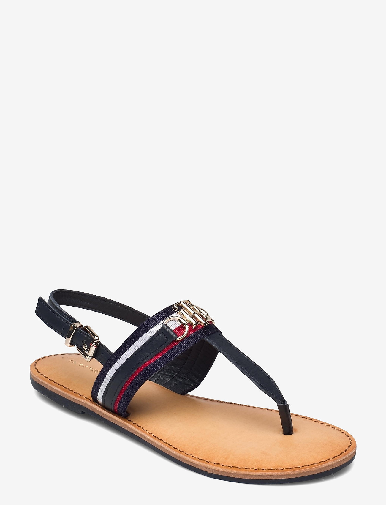 Tommy Hilfiger - SHIMMERY RIBBON FLAT SANDAL - flat sandals - desert sky - 0