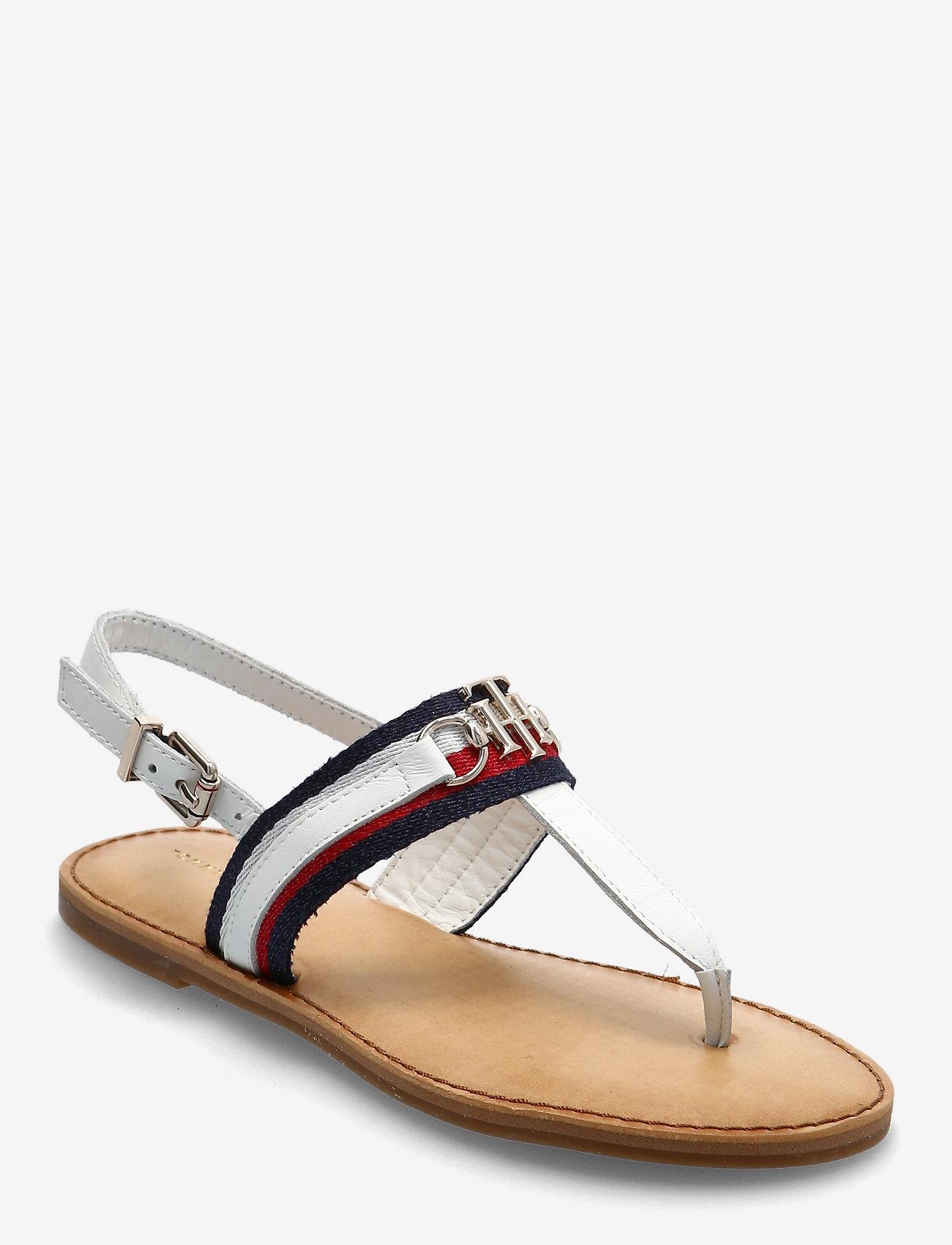Tommy Hilfiger - SHIMMERY RIBBON FLAT SANDAL - flat sandals - ecru - 0