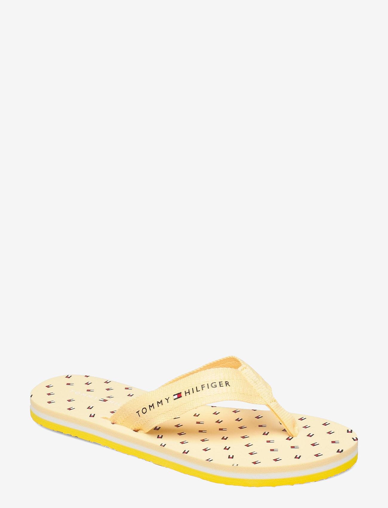 Tommy Hilfiger - TH MINI FLAGS BEACH SANDAL - flat sandals - vivid yellow - 0