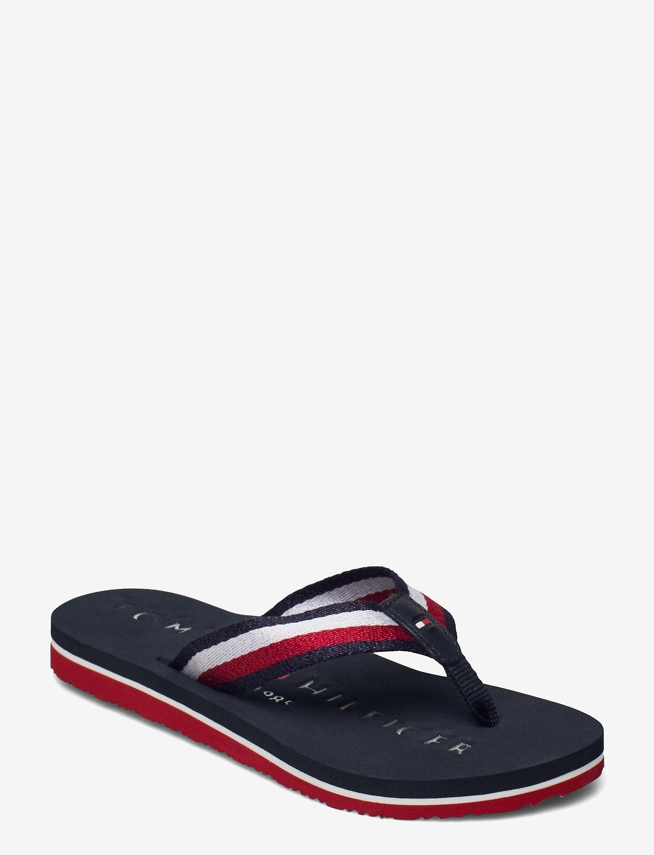 Tommy Hilfiger - TOMMY RIBBON FLAT BEACH SANDAL - flat sandals - desert sky - 0