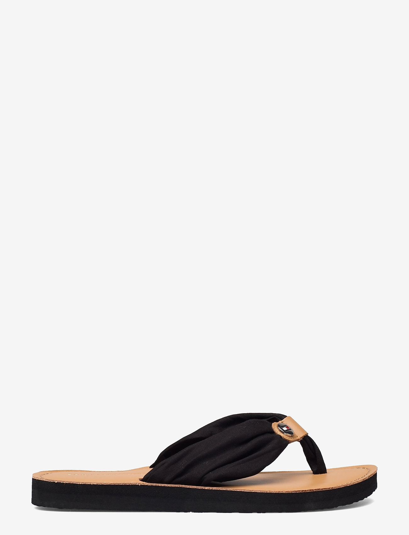 Tommy Hilfiger - LEATHER FOOTBED BEACH SANDAL - flat sandals - black - 1
