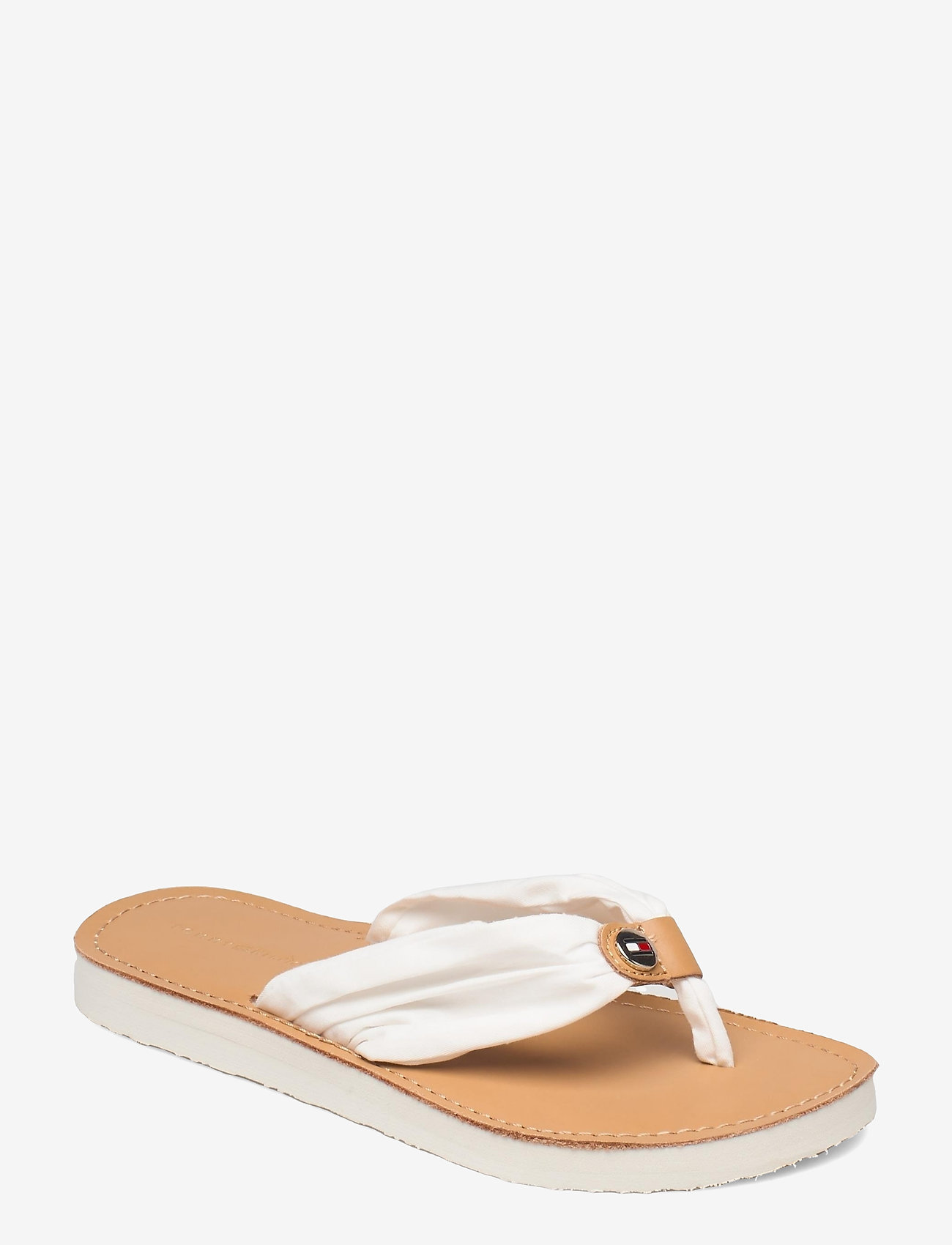 Tommy Hilfiger - LEATHER FOOTBED BEACH SANDAL - flat sandals - ivory - 0
