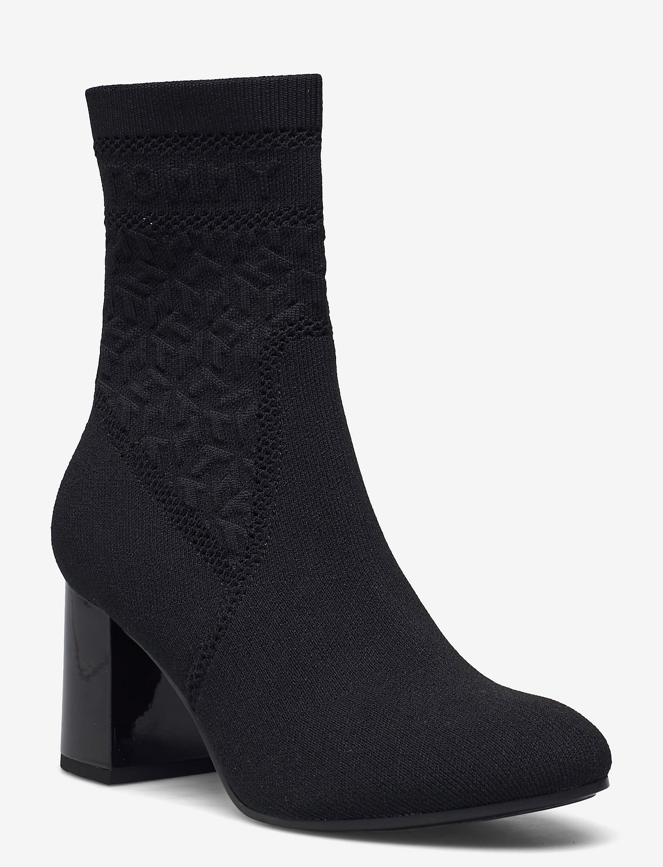Tommy Hilfiger - TH KNITTED MID HEEL BOOT - heeled ankle boots - black - 0