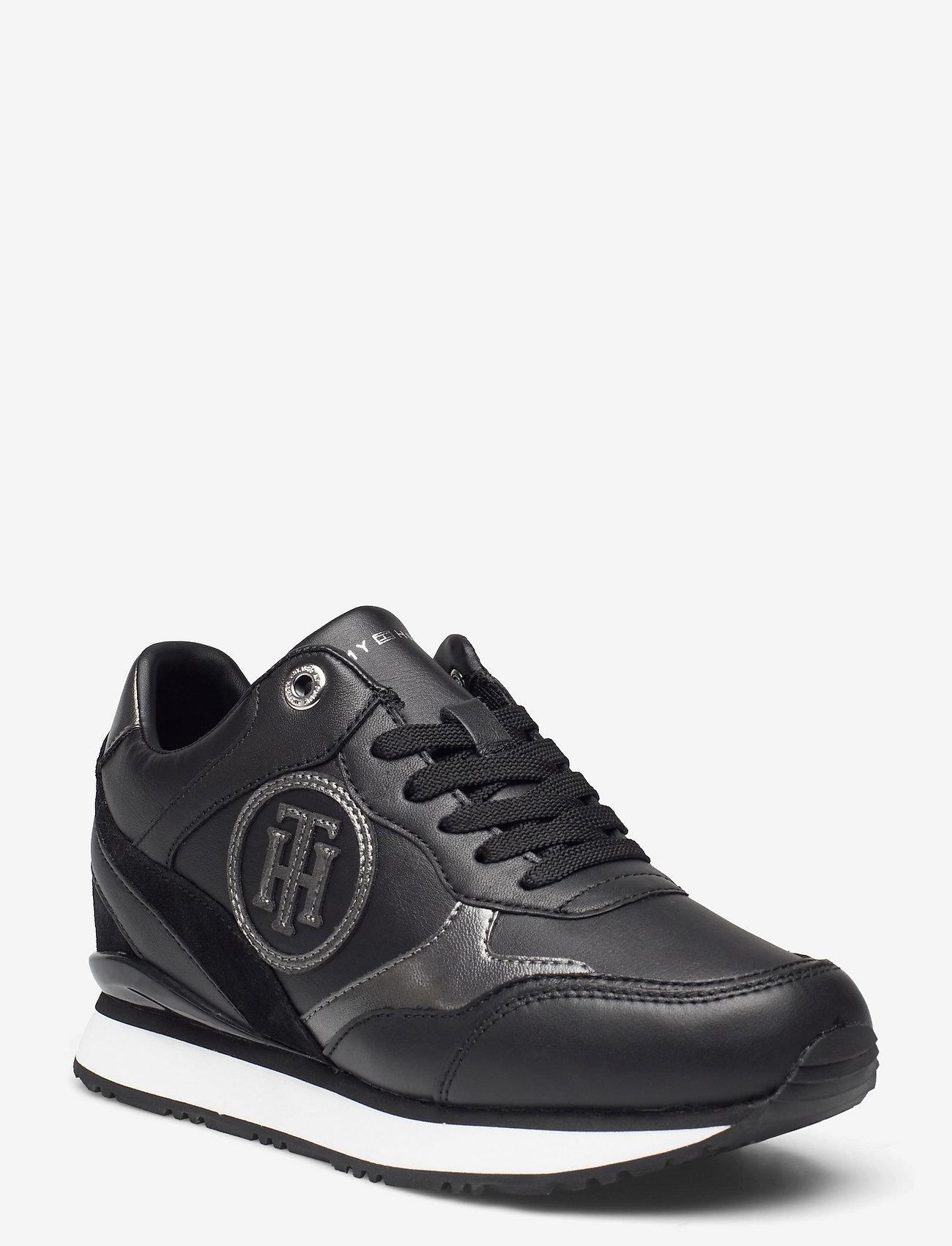 Tommy Hilfiger - METALLIC DRESSY WEDGE SNEAKER - low top sneakers - black - 0