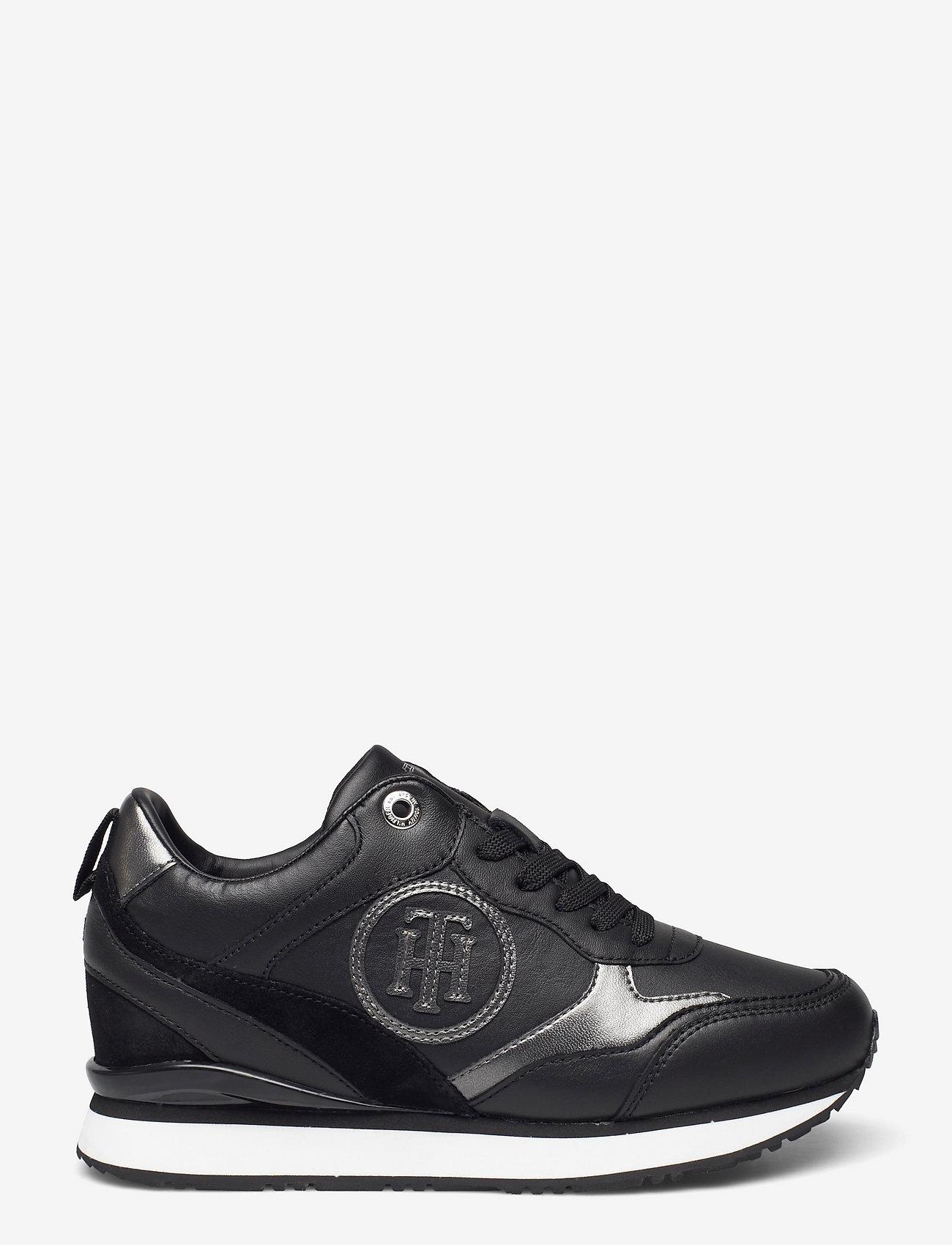 Tommy Hilfiger - METALLIC DRESSY WEDGE SNEAKER - low top sneakers - black - 1