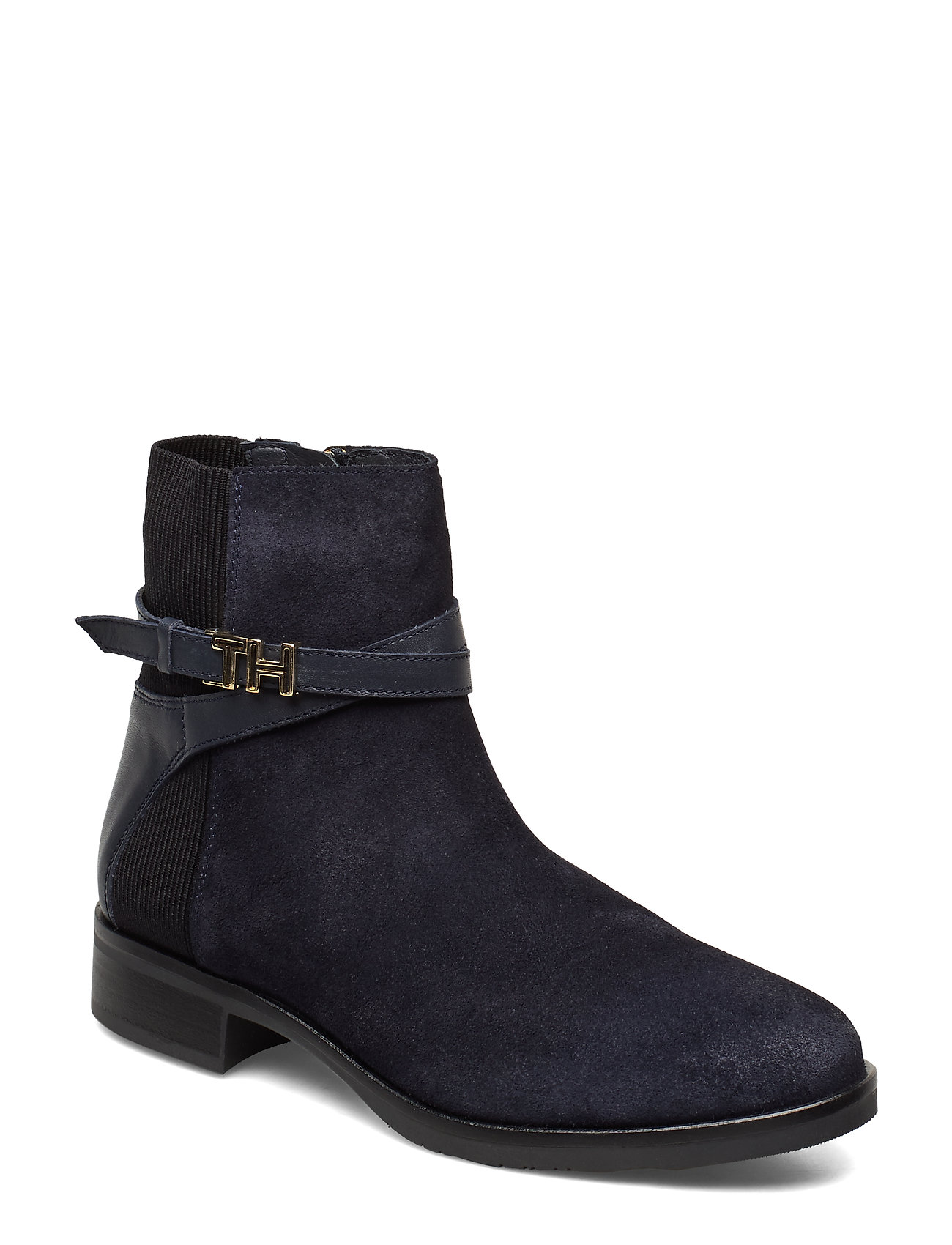 Image of Th Hardware Suede Flat Bootie Shoes Boots Ankle Boots Ankle Boots Flat Heel Sort Tommy Hilfiger (3245421519)