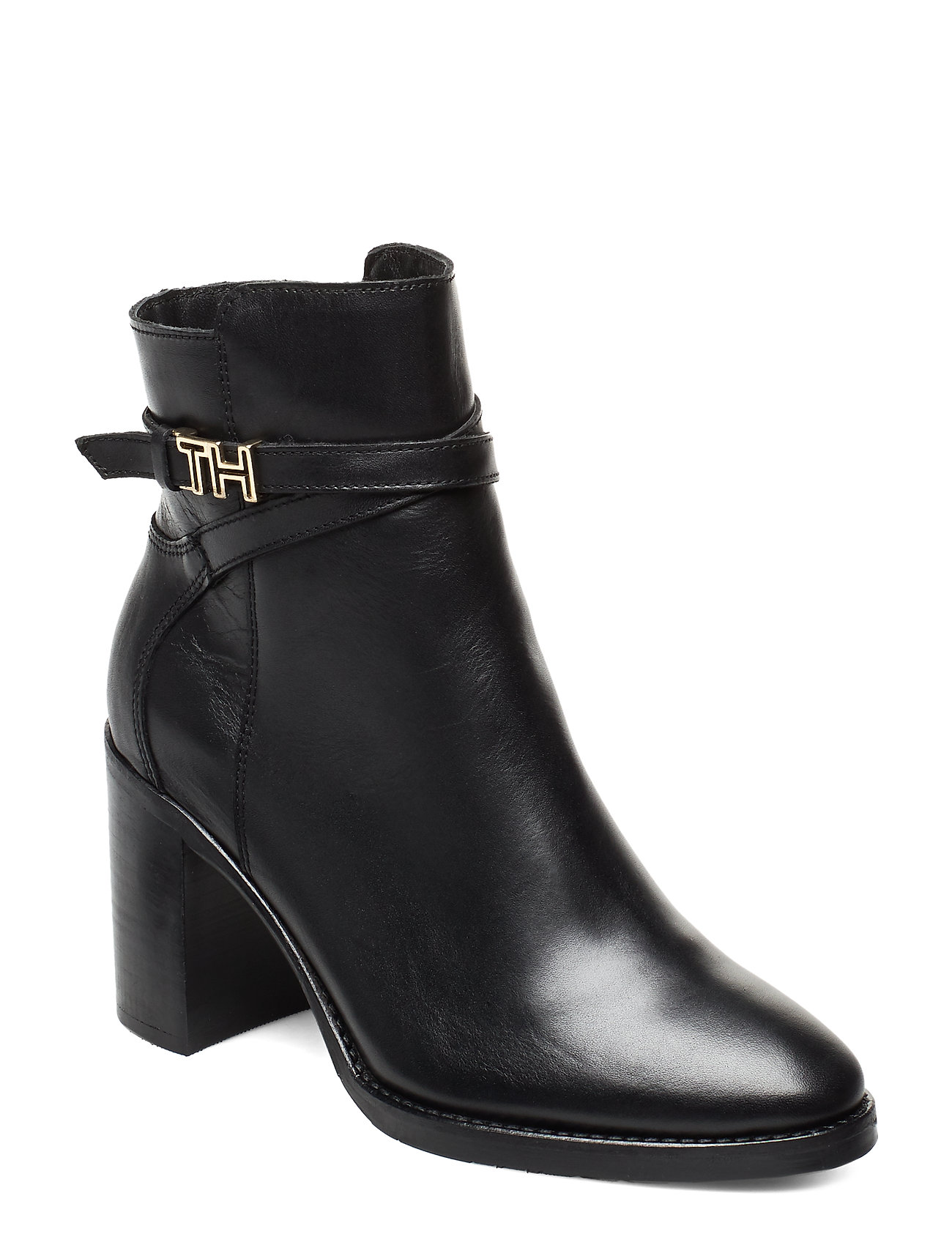 Image of Th Hardware Leather High Boot Shoes Boots Ankle Boots Ankle Boots With Heel Sort Tommy Hilfiger (3247206559)