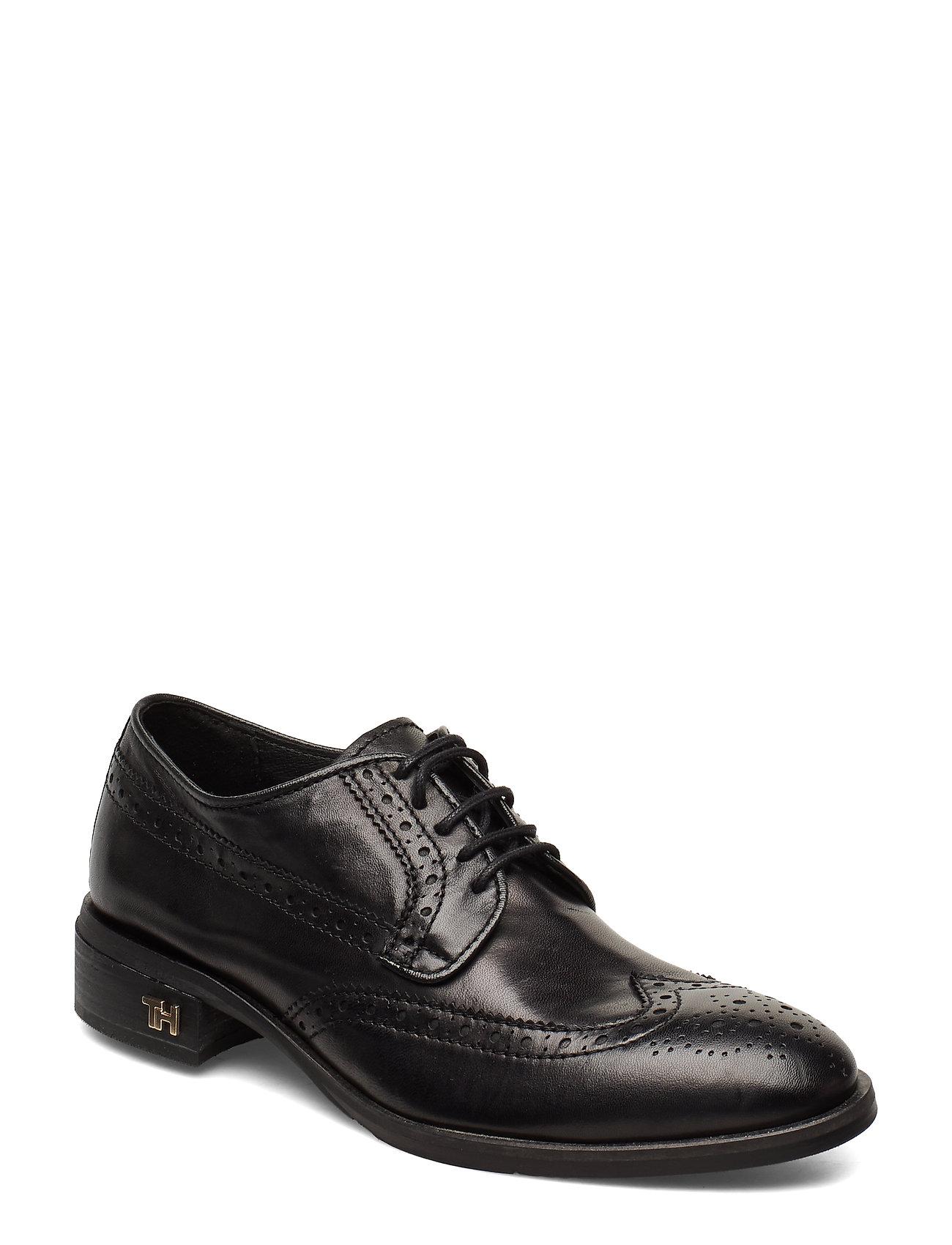 Mono Color Flat Shoes Snøresko Flade Sort Tommy Hilfiger