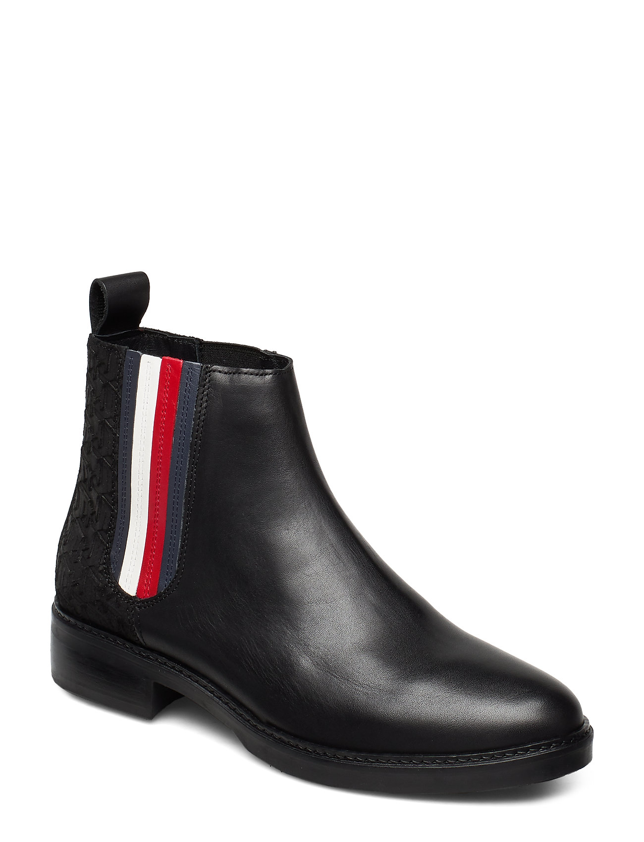 Image of Sporty Monogram Flat Bootie Shoes Boots Ankle Boots Ankle Boots Flat Heel Sort Tommy Hilfiger (3247206461)
