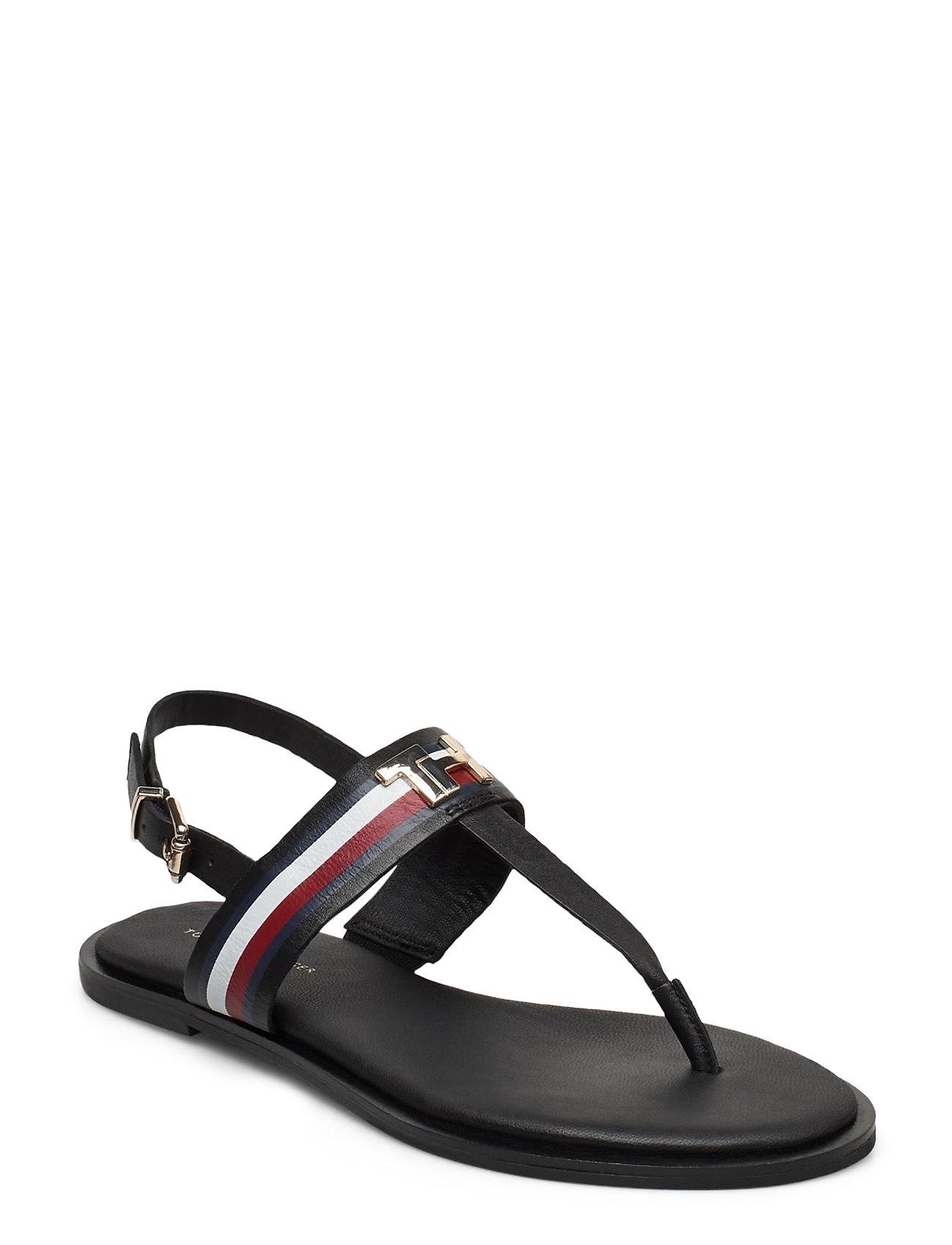 Image of Corporate Leather Flat Sandal Shoes Summer Shoes Flat Sandals Sort Tommy Hilfiger (3406310017)
